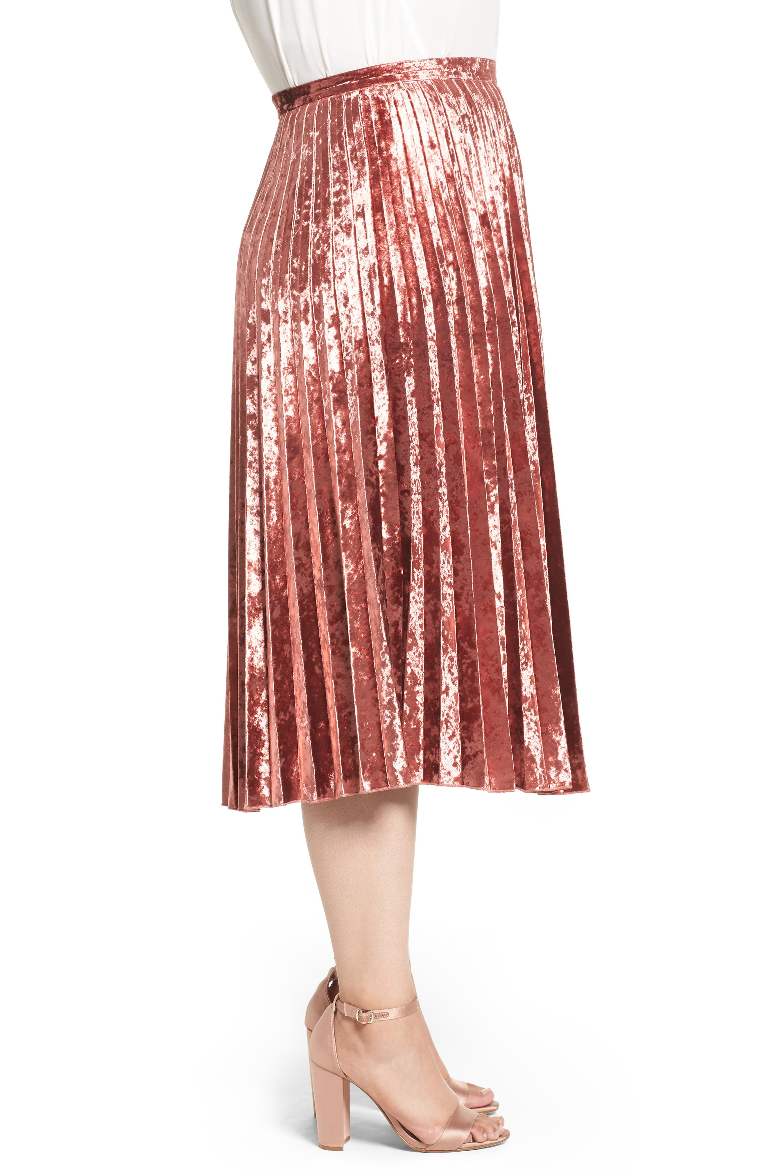 Velvet Pleat Skirt,                             Alternate thumbnail 6, color,