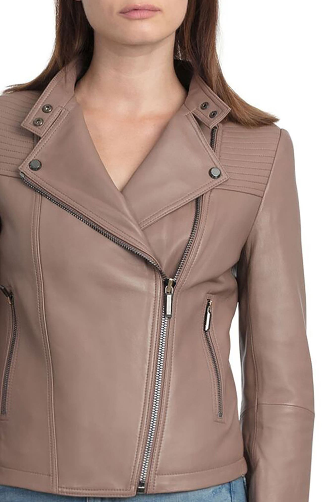 Bagatelle Quilted Lambskin Leather Moto Jacket,                             Alternate thumbnail 4, color,                             255