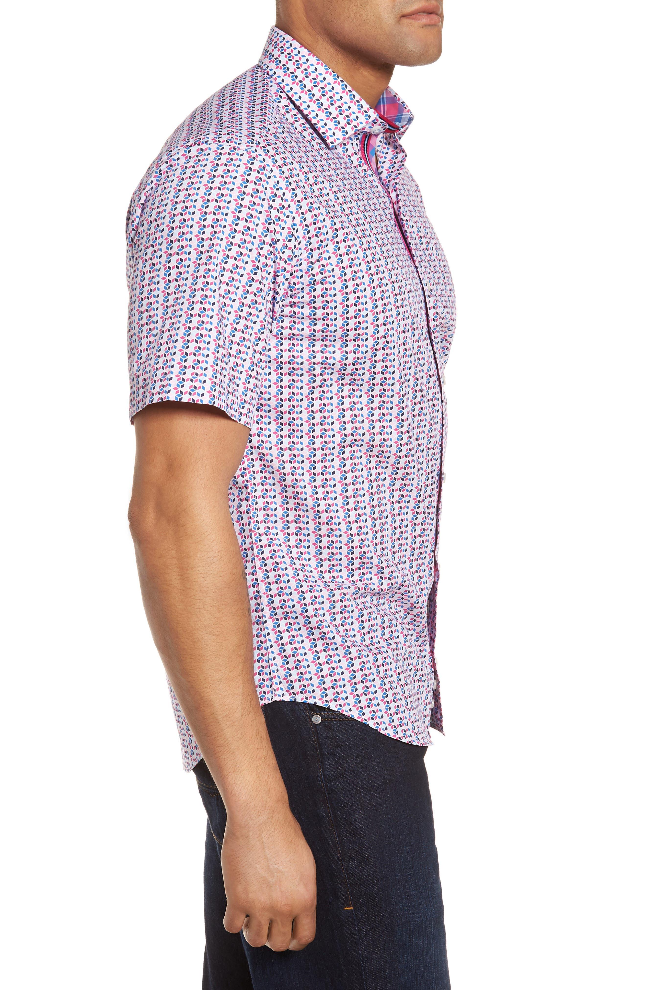 Slater Regular Fit Print Sport Shirt,                             Alternate thumbnail 3, color,                             650