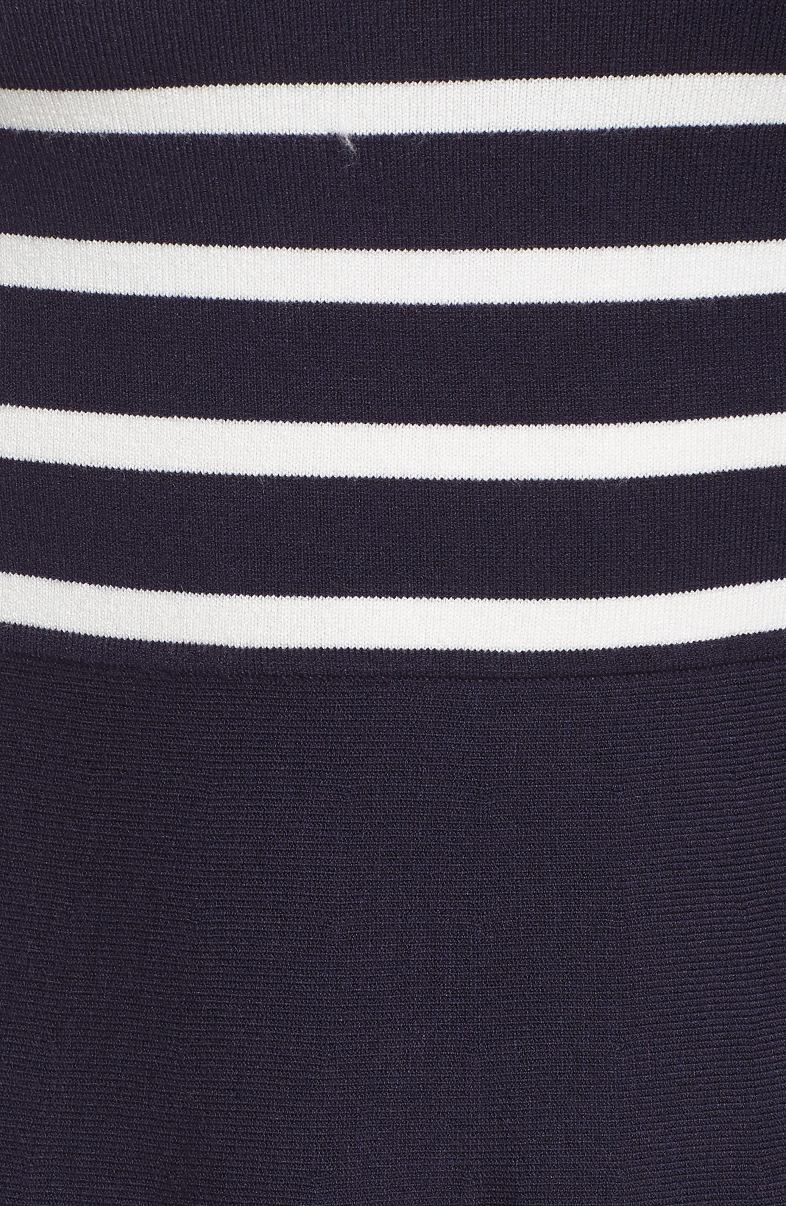 Stripe Mock Neck Fit & Flare Dress,                             Alternate thumbnail 5, color,                             NAVY