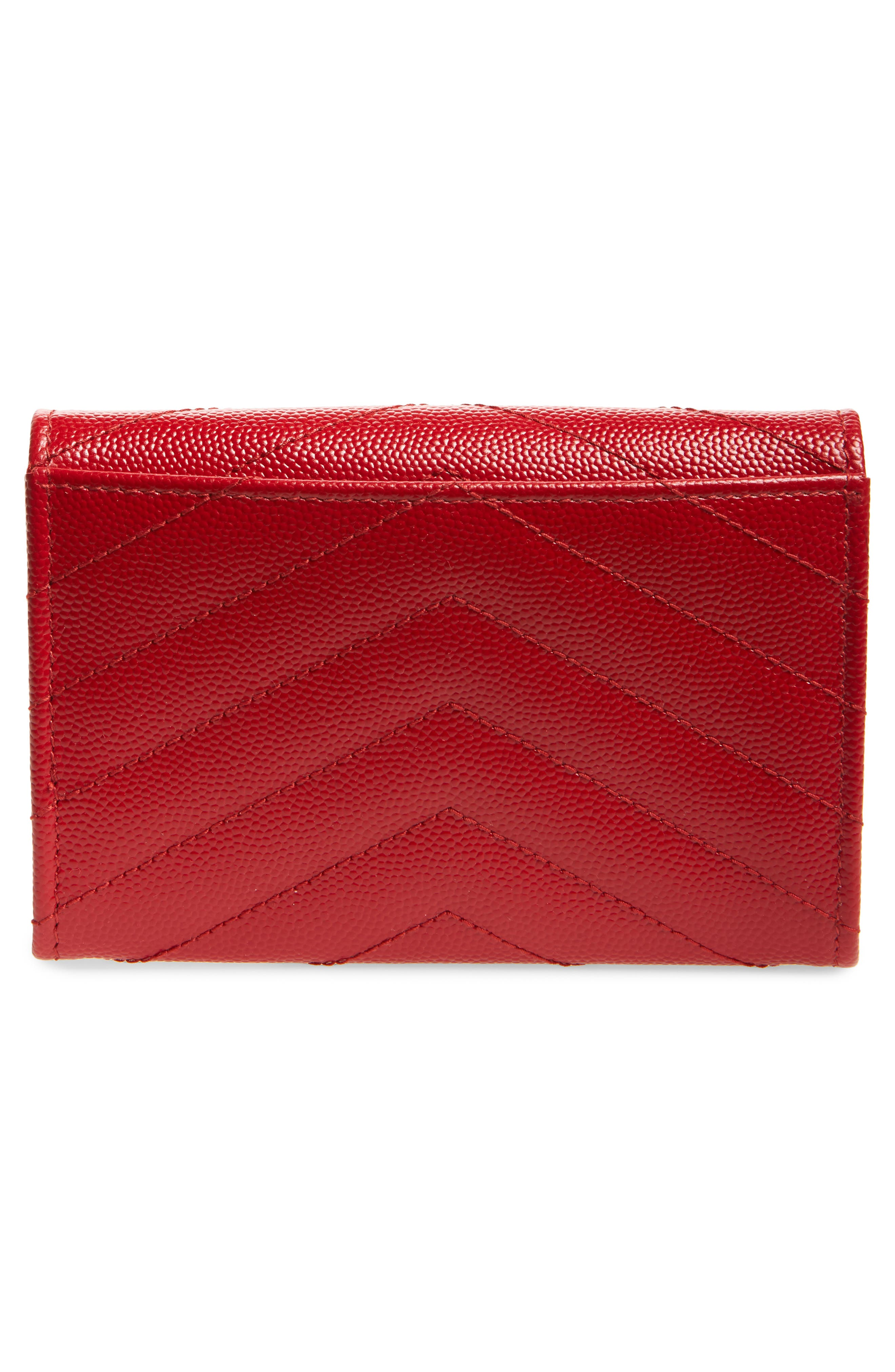 'Monogram' Quilted Leather French Wallet,                             Alternate thumbnail 4, color,                             BANDANA RED