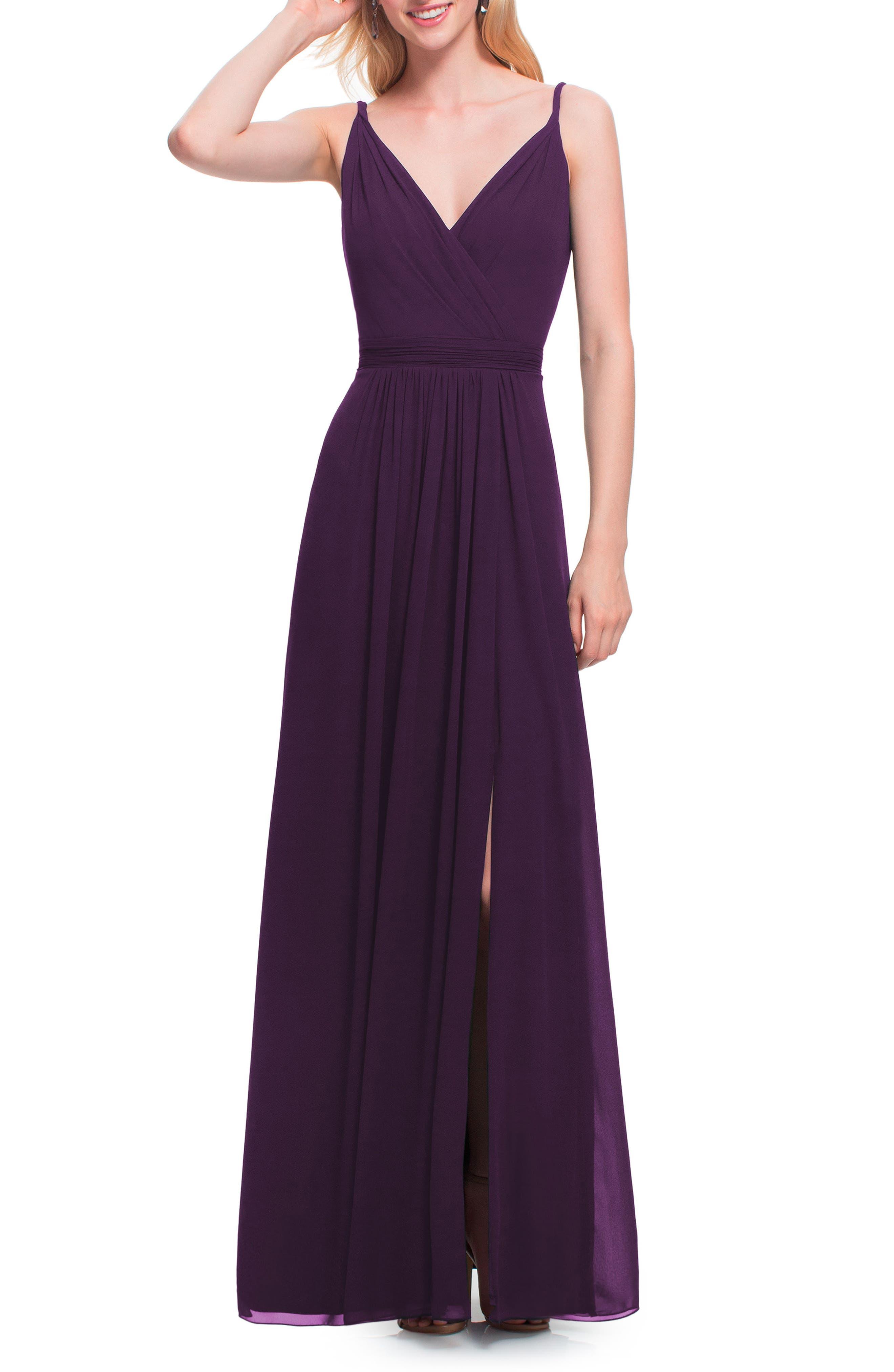 #levkoff Surplice Neck Chiffon Gown, Purple