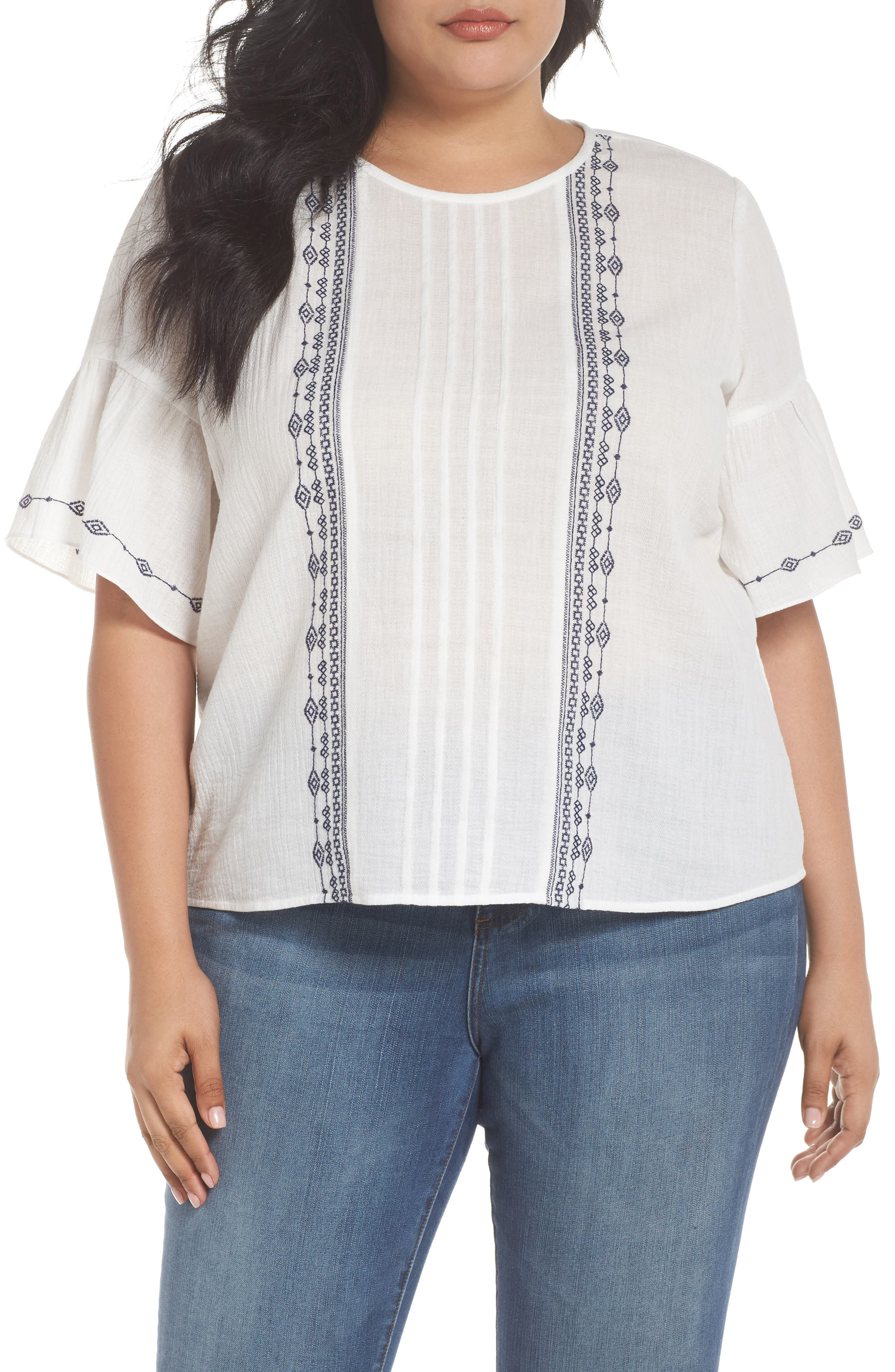 Ruffle Sleeve Embroidered Crinkle Cotton Top,                         Main,                         color, ULTRA WHIT