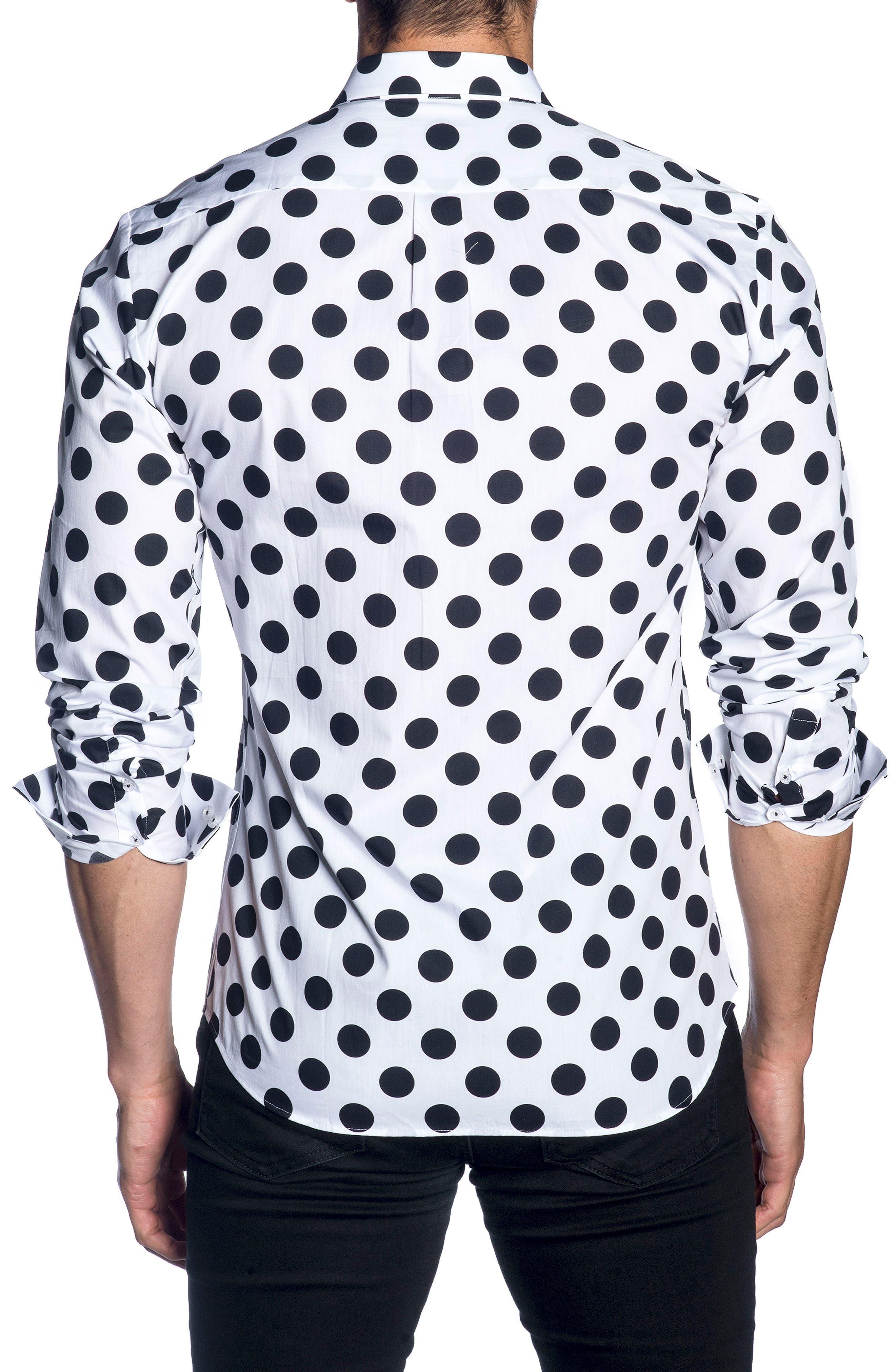 Trim Fit Sport Shirt,                             Alternate thumbnail 2, color,                             WHITE BLACK POLKA DOT
