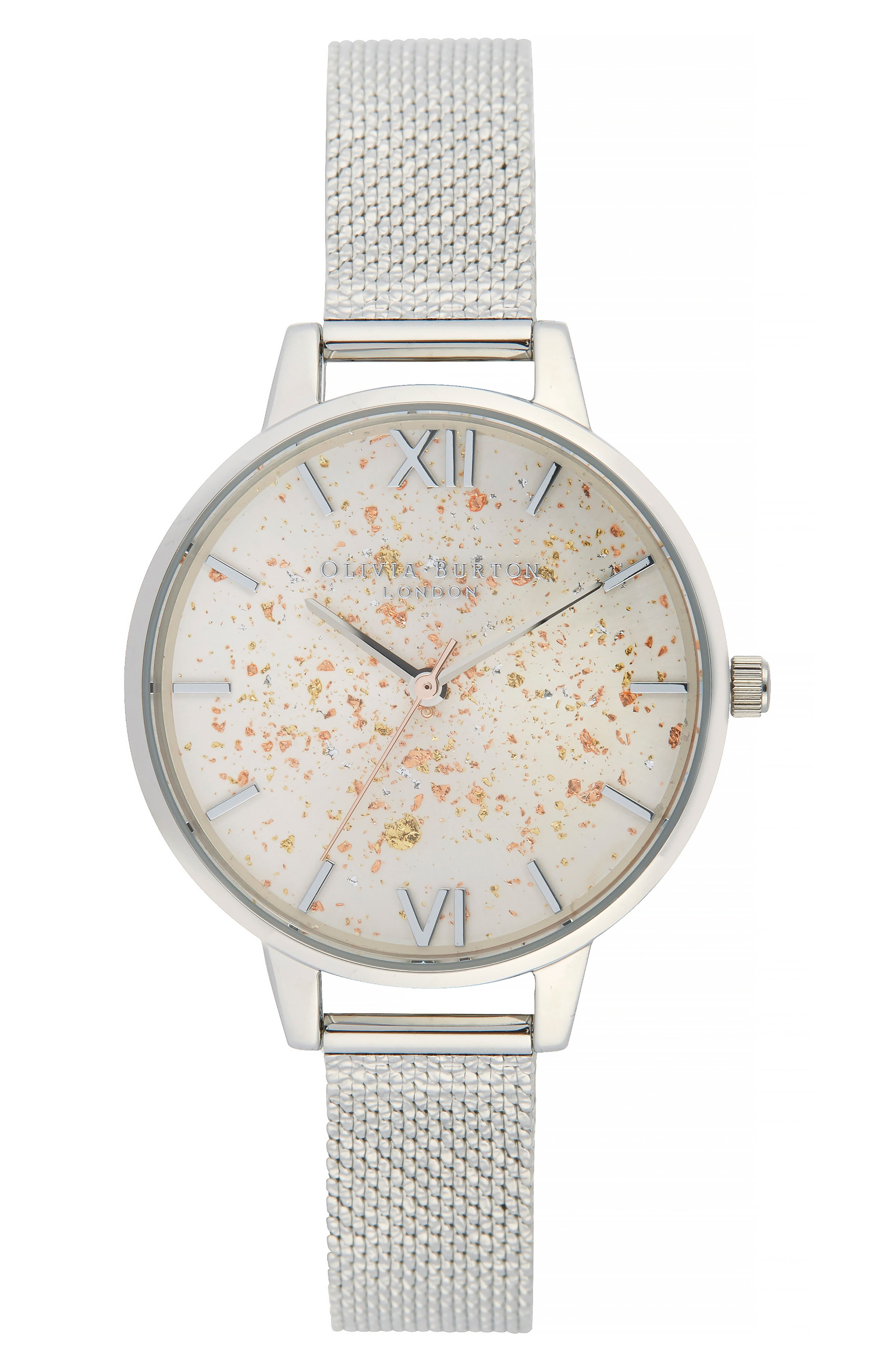 Celestial Mesh Strap Watch, 34mm,                         Main,                         color, SILVER