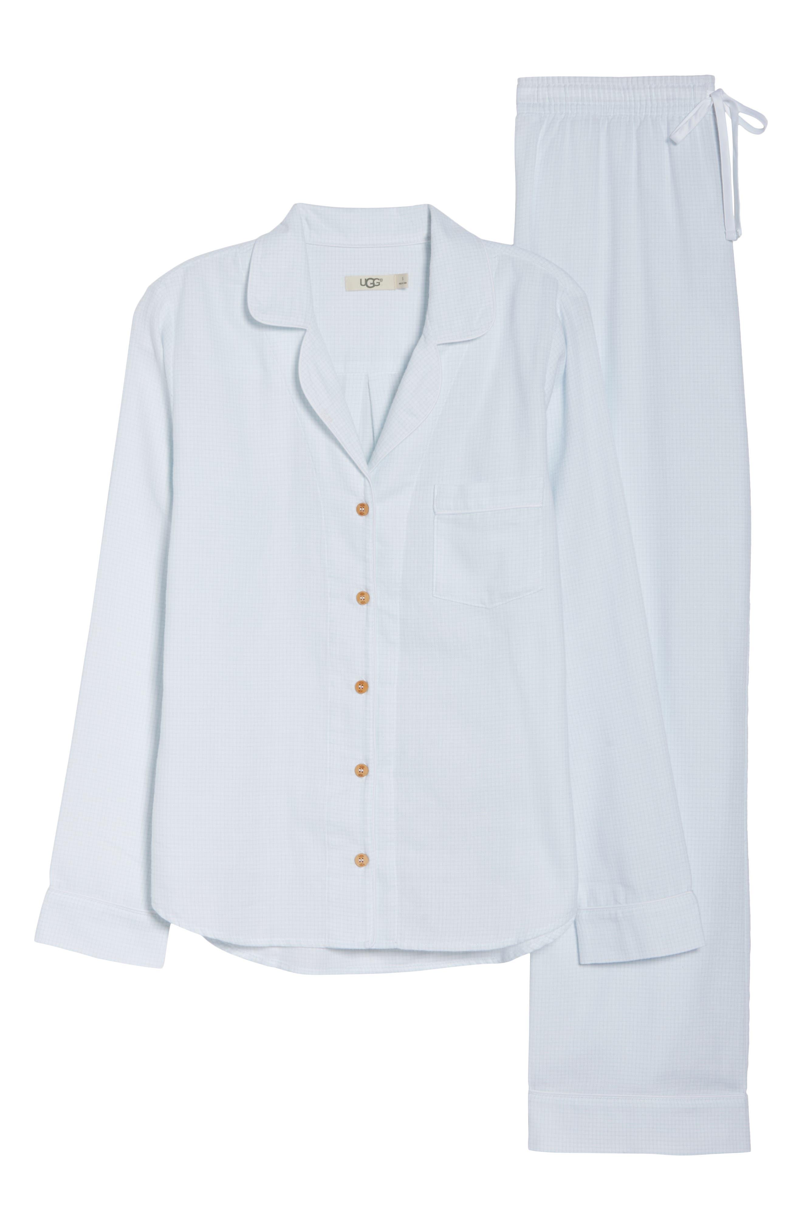 Raven Plaid Pajamas,                             Alternate thumbnail 6, color,                             WHITE / SKY BLUE CHECK