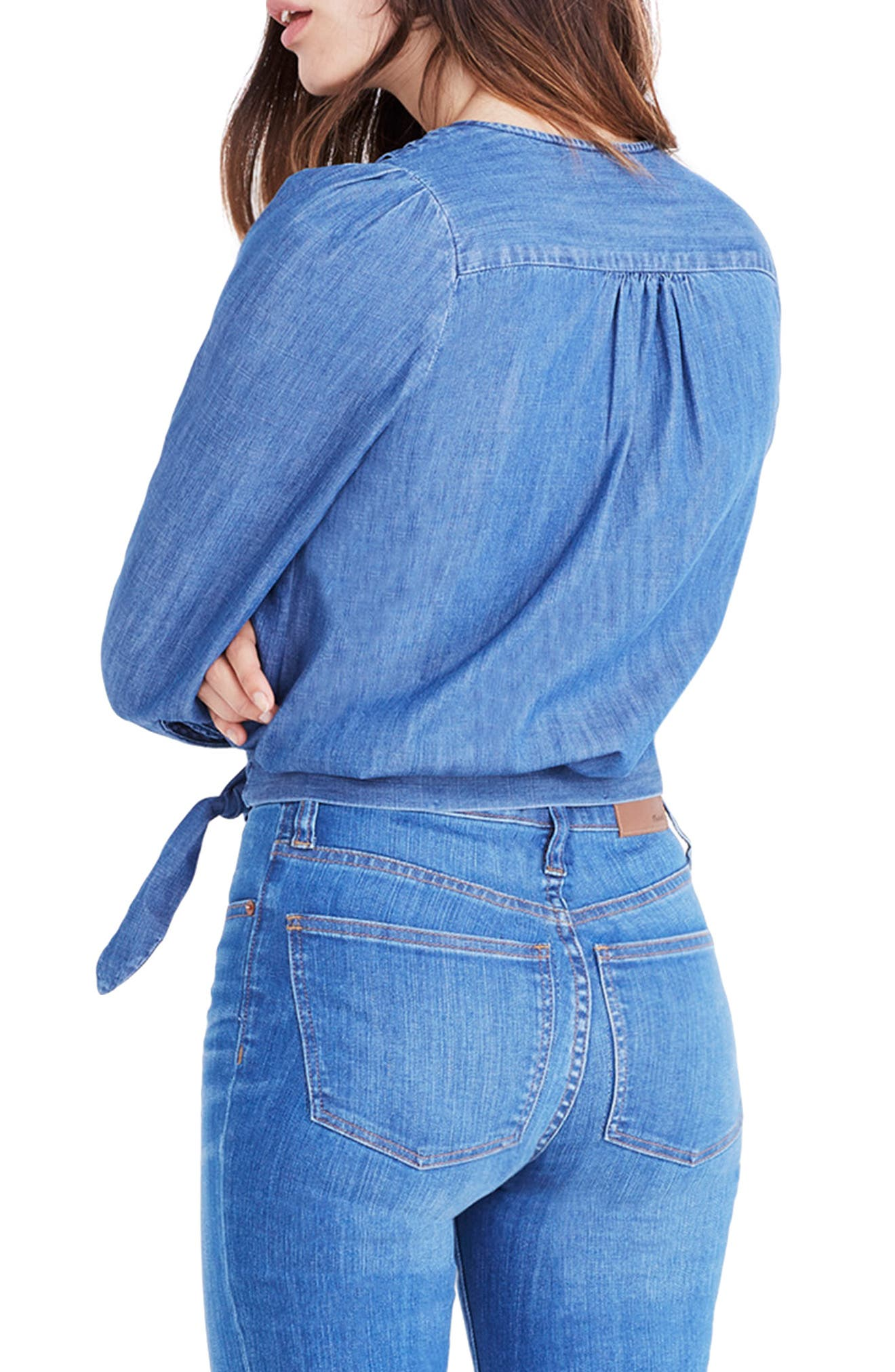 Denim Wrap Blouse,                             Alternate thumbnail 2, color,                             DESCANSO WASH