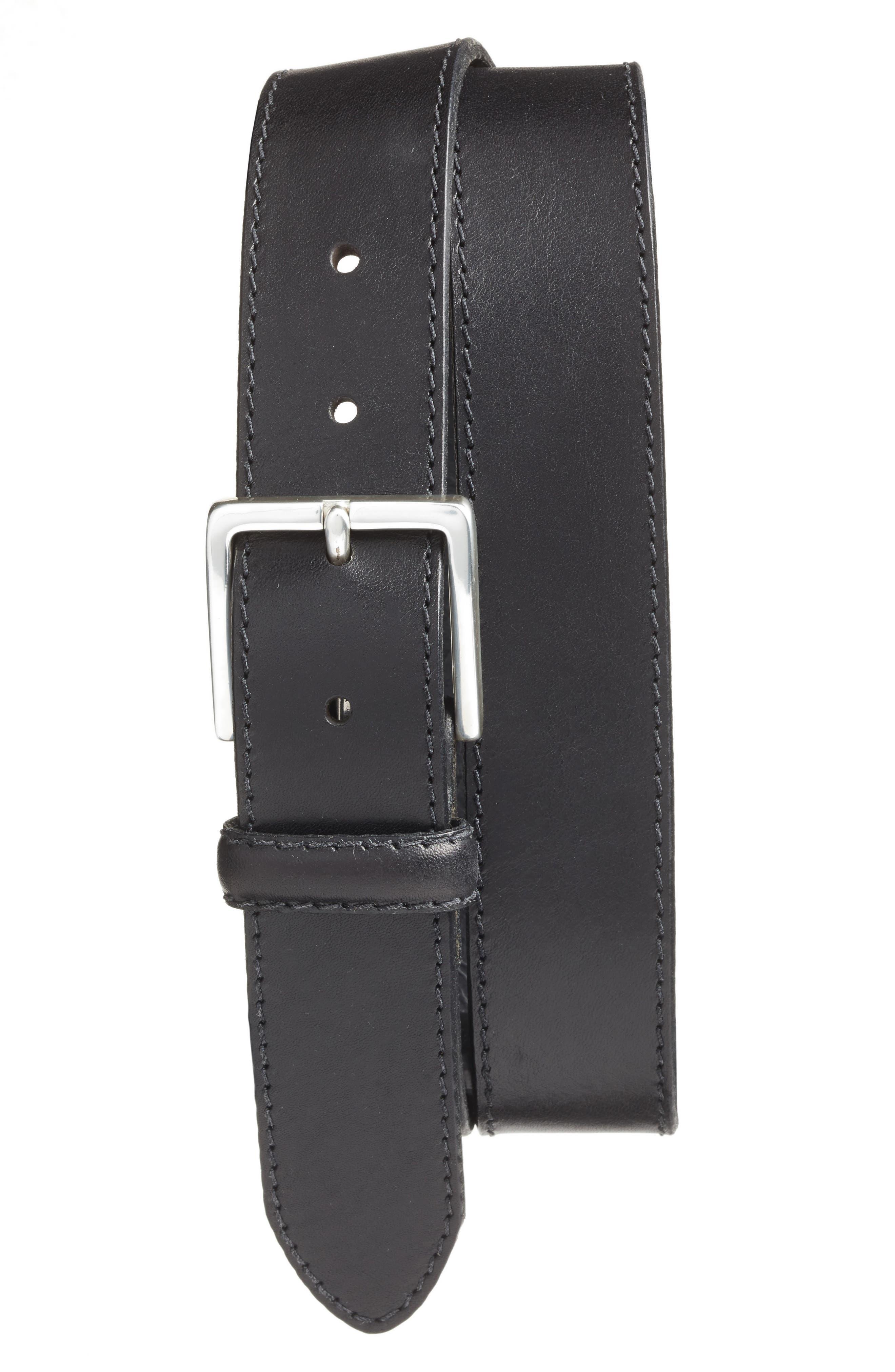 The Franco Leather Belt,                         Main,                         color, BLACK