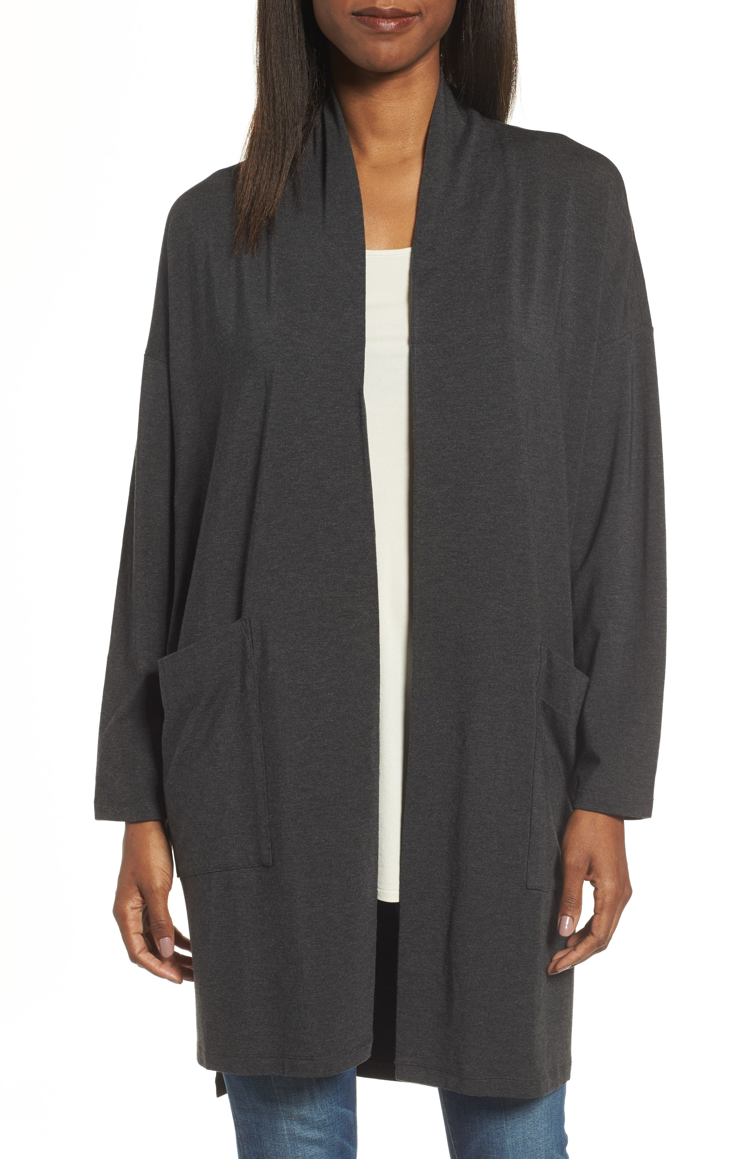 Stretch Tencel<sup>®</sup> Lyocell Kimono Cardigan,                         Main,                         color, 021