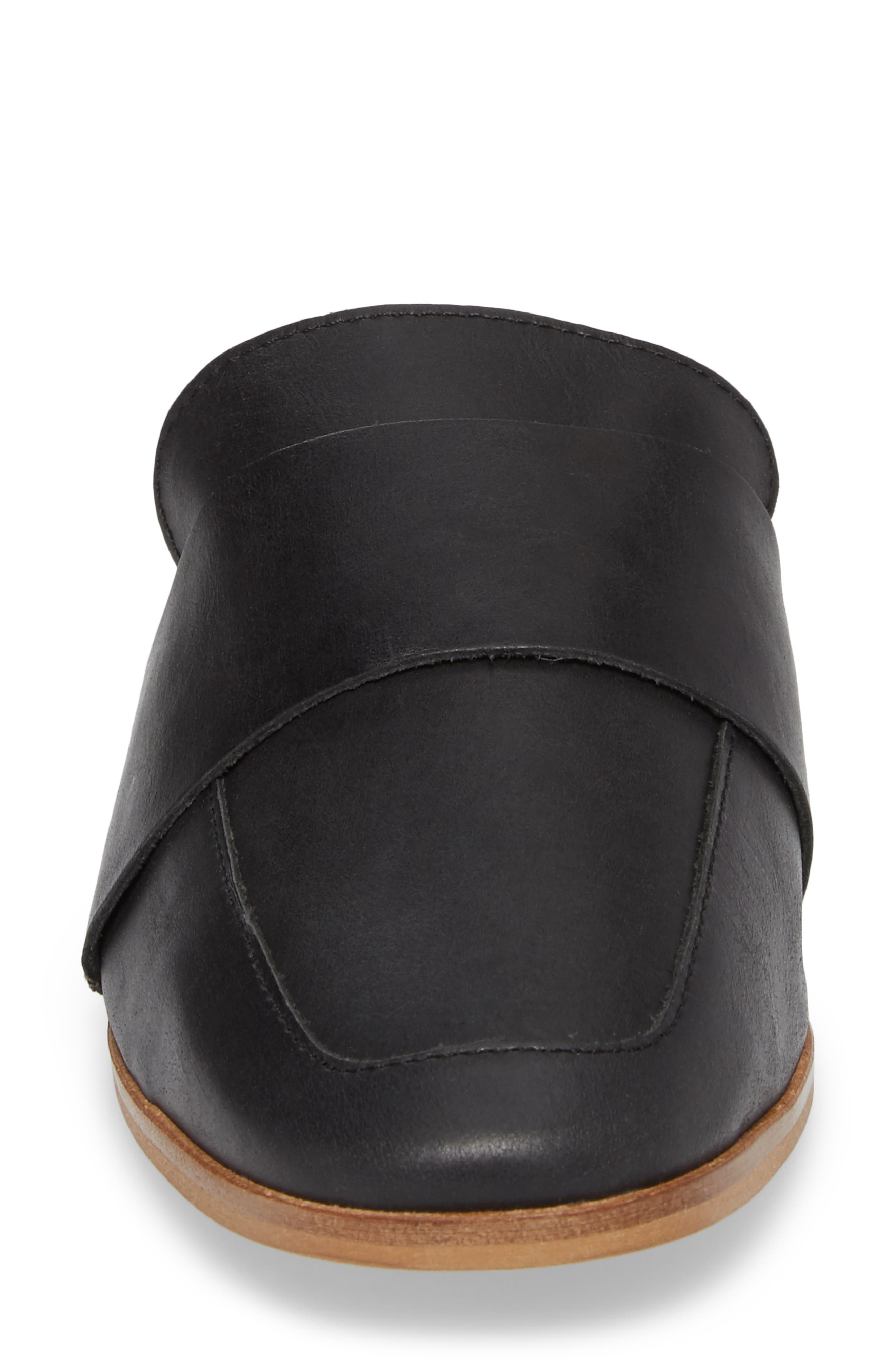 At Ease Loafer Mule,                             Alternate thumbnail 4, color,                             CARBON LEATHER