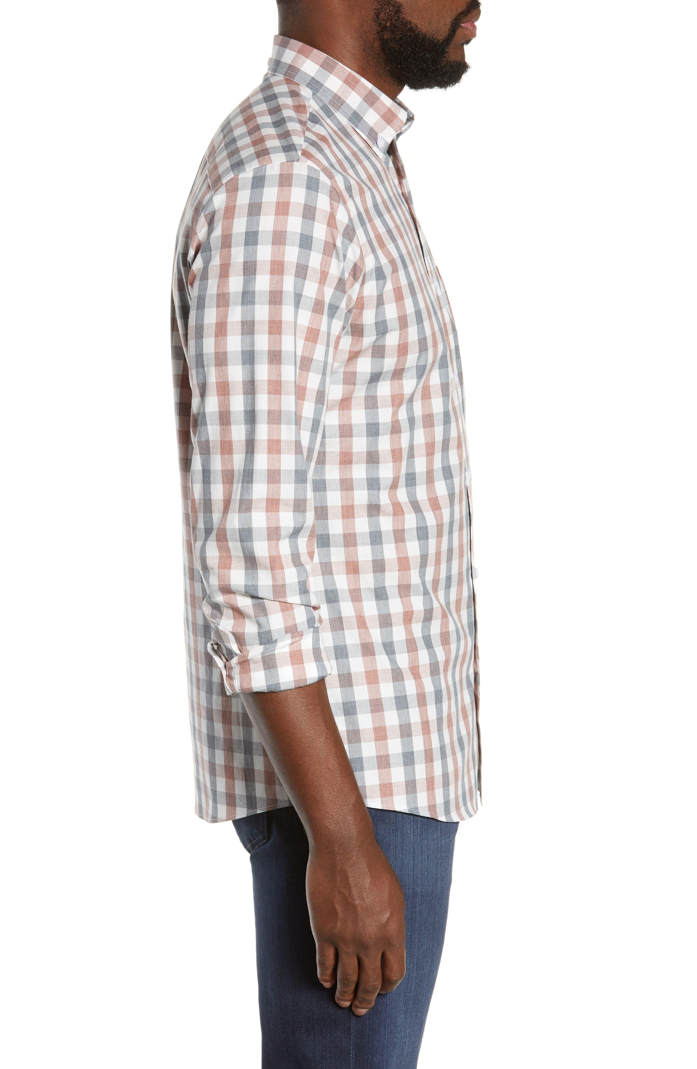 Check Sport Shirt,                             Alternate thumbnail 4, color,                             GREY RED WHITE MELANGE CHECK
