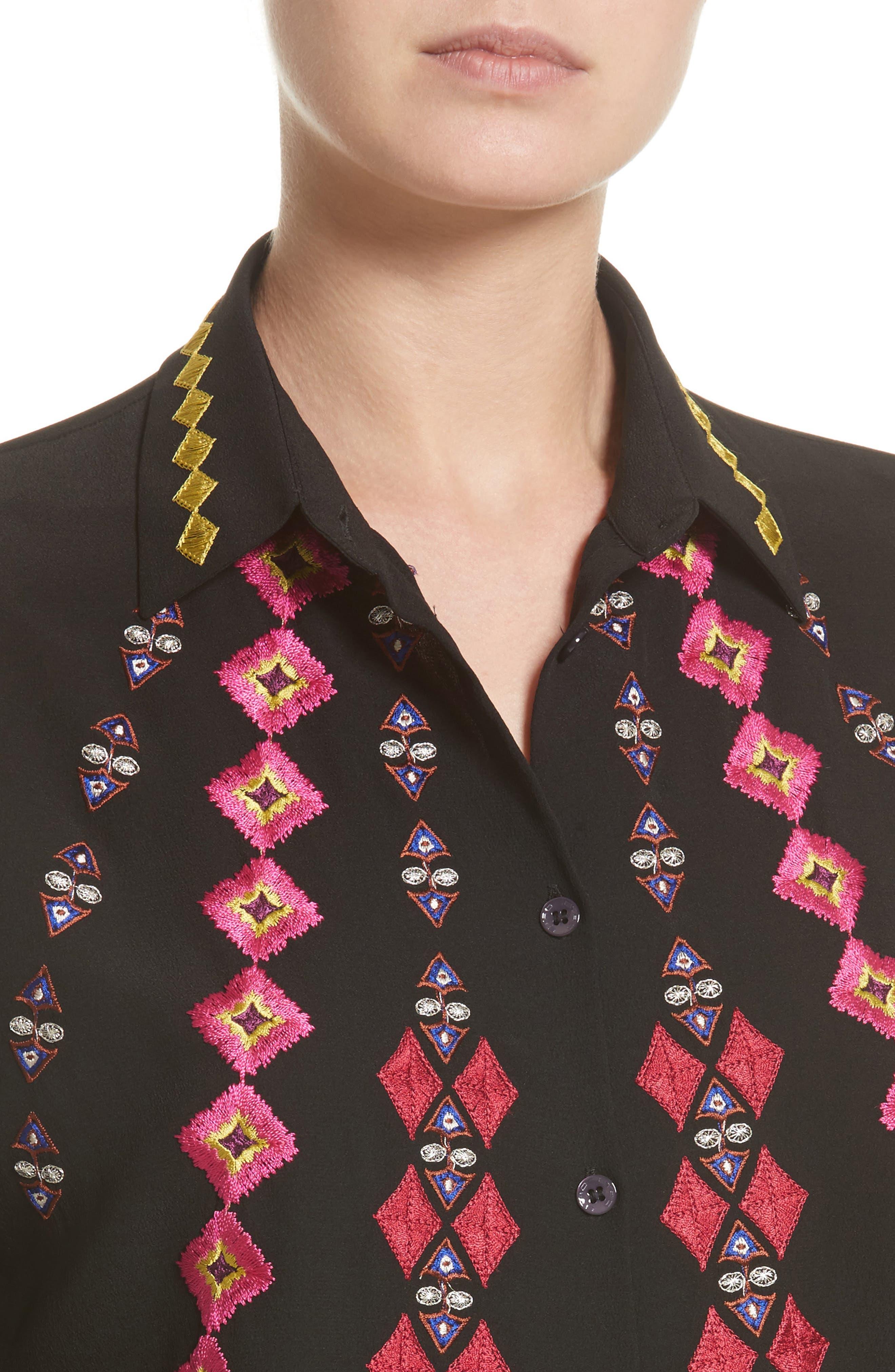 Diamond Embroidered Silk Blouse,                             Alternate thumbnail 4, color,                             001