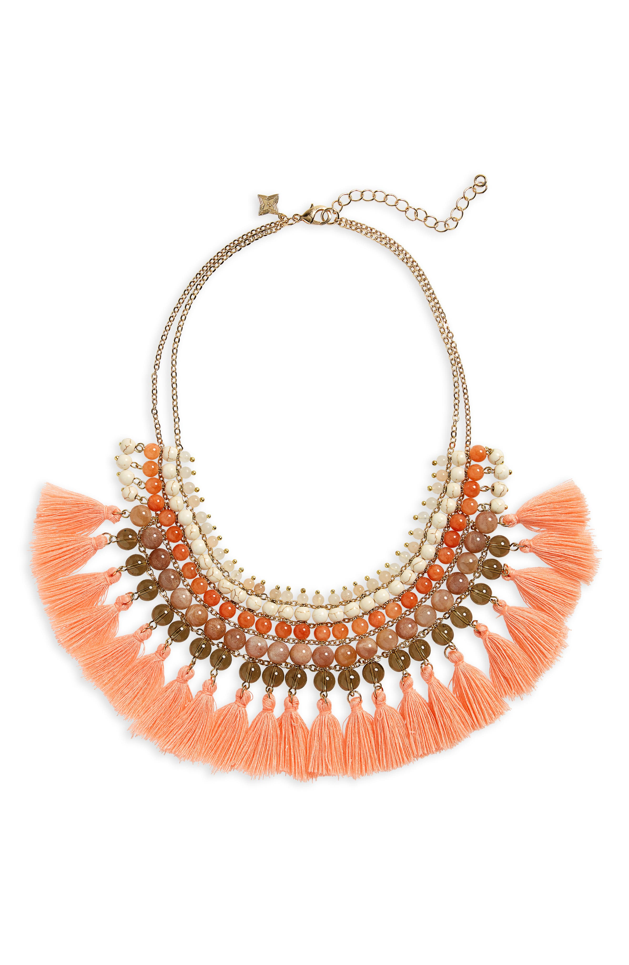 Stacked Stone Tassel Trim Bib Necklace,                         Main,                         color, 950