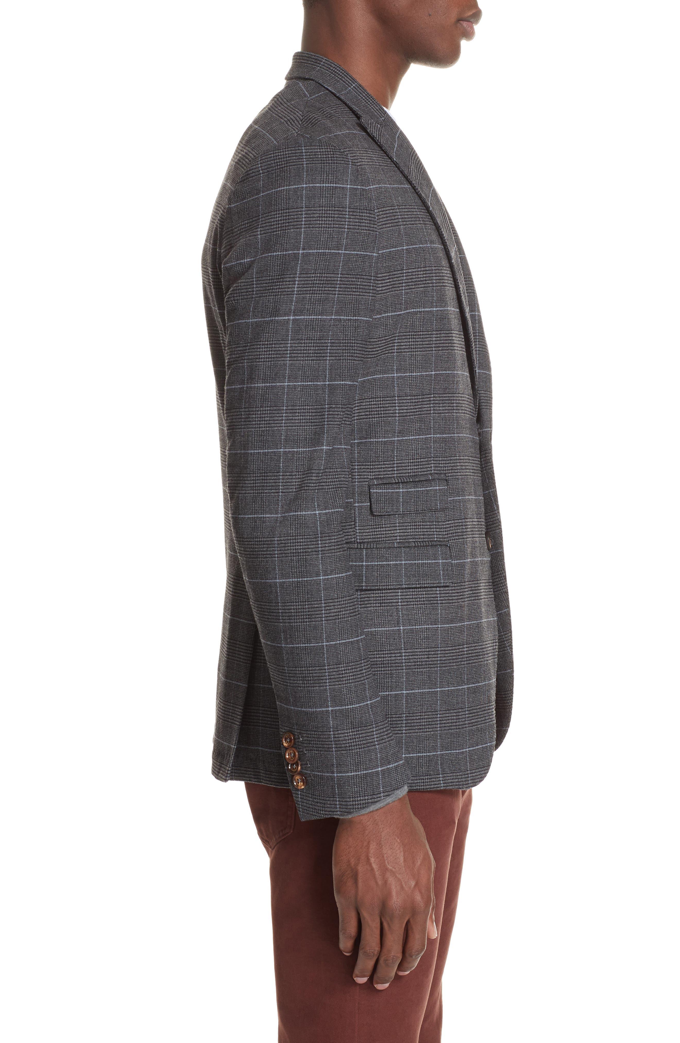 Trim Fit Stretch Plaid Wool Sport Coat,                             Alternate thumbnail 3, color,                             GREY