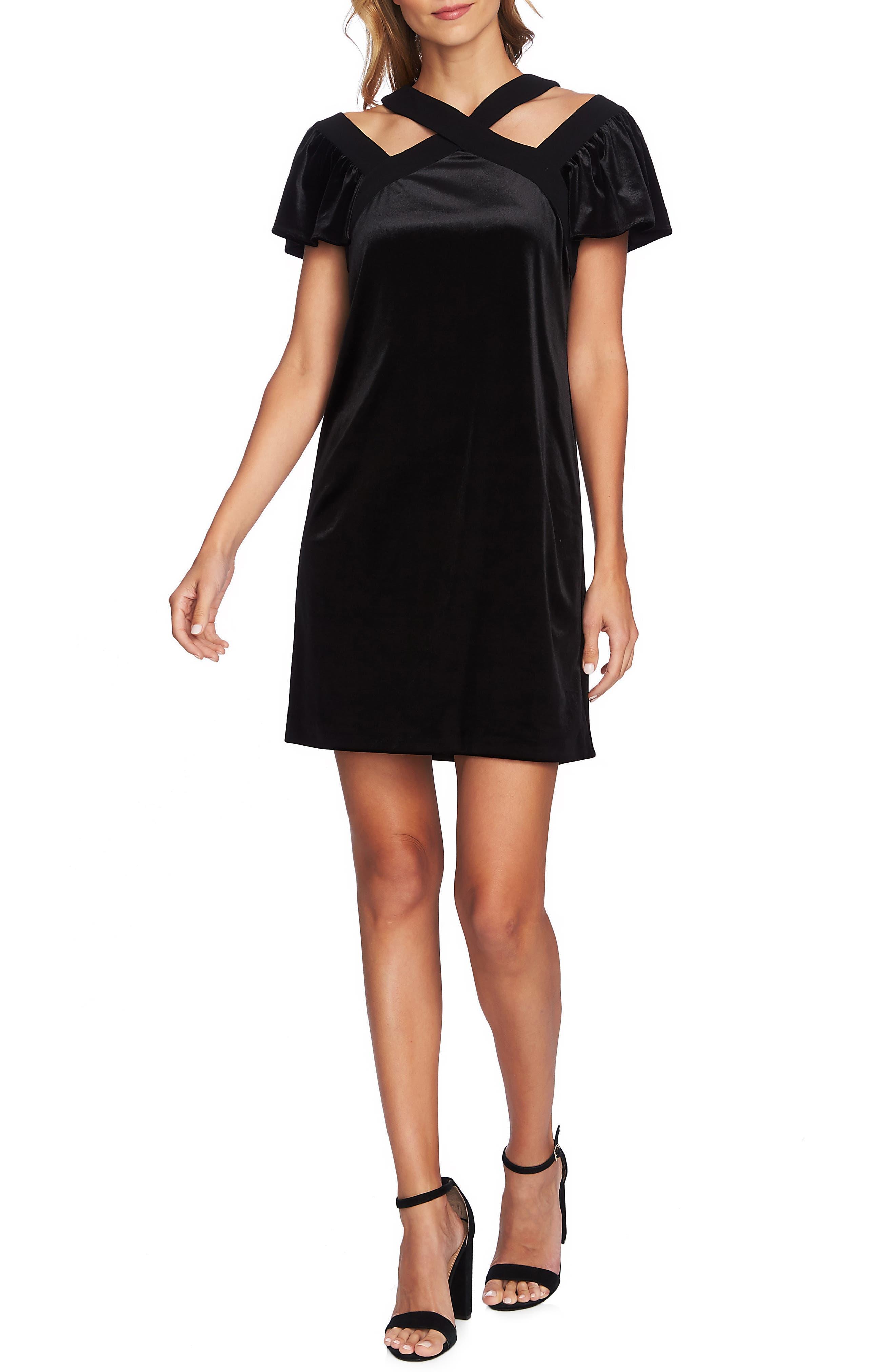 Crisscross Flutter Sleeve Stretch Velvet Dress, Main, color, 006