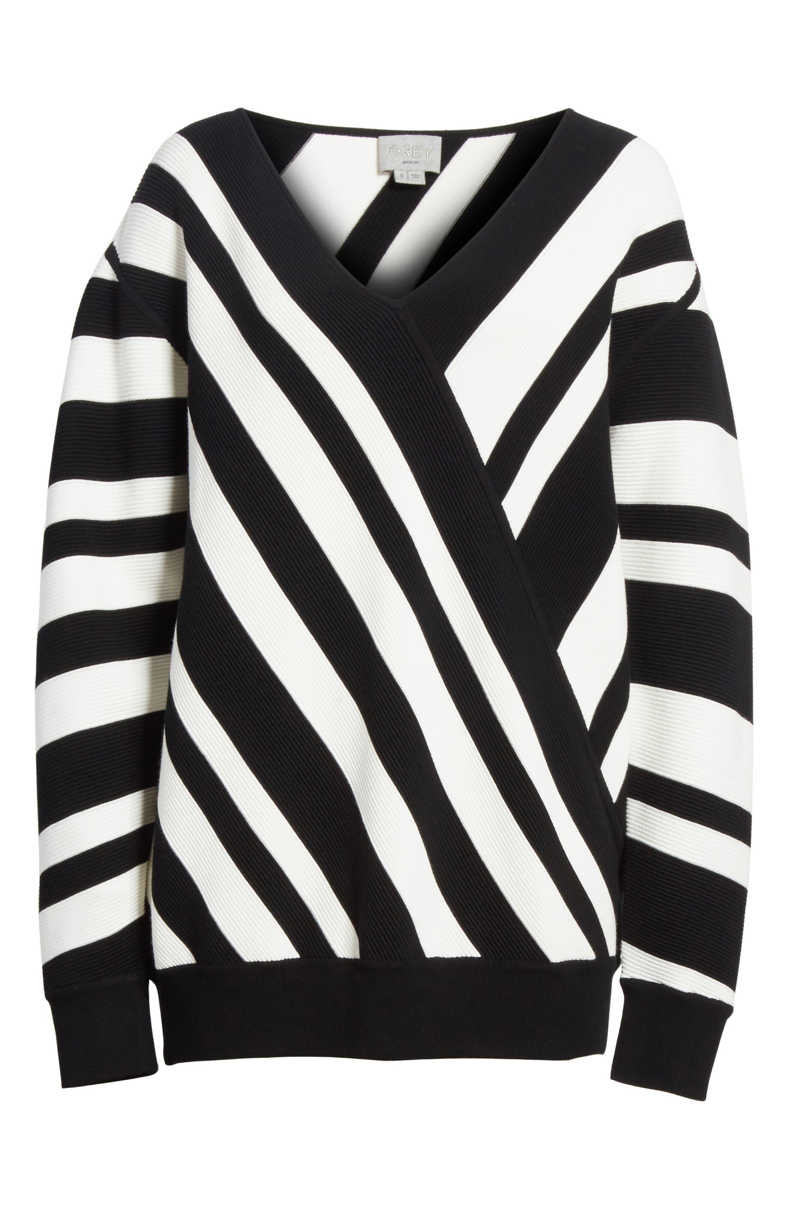 Stripe Knit Sweater,                             Alternate thumbnail 6, color,                             005