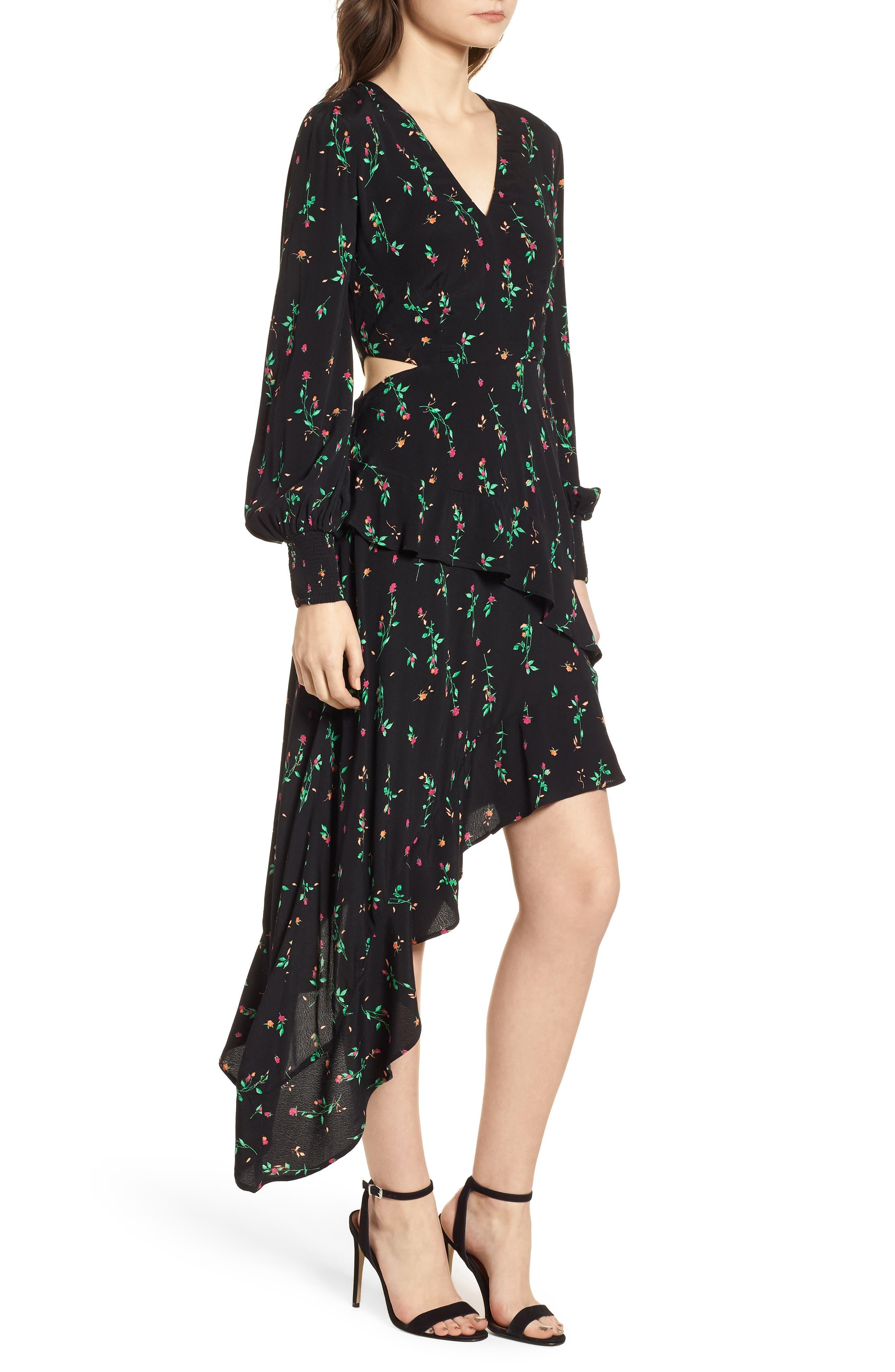 Mabel Cutout Asymmetrical Dress,                             Alternate thumbnail 3, color,                             001