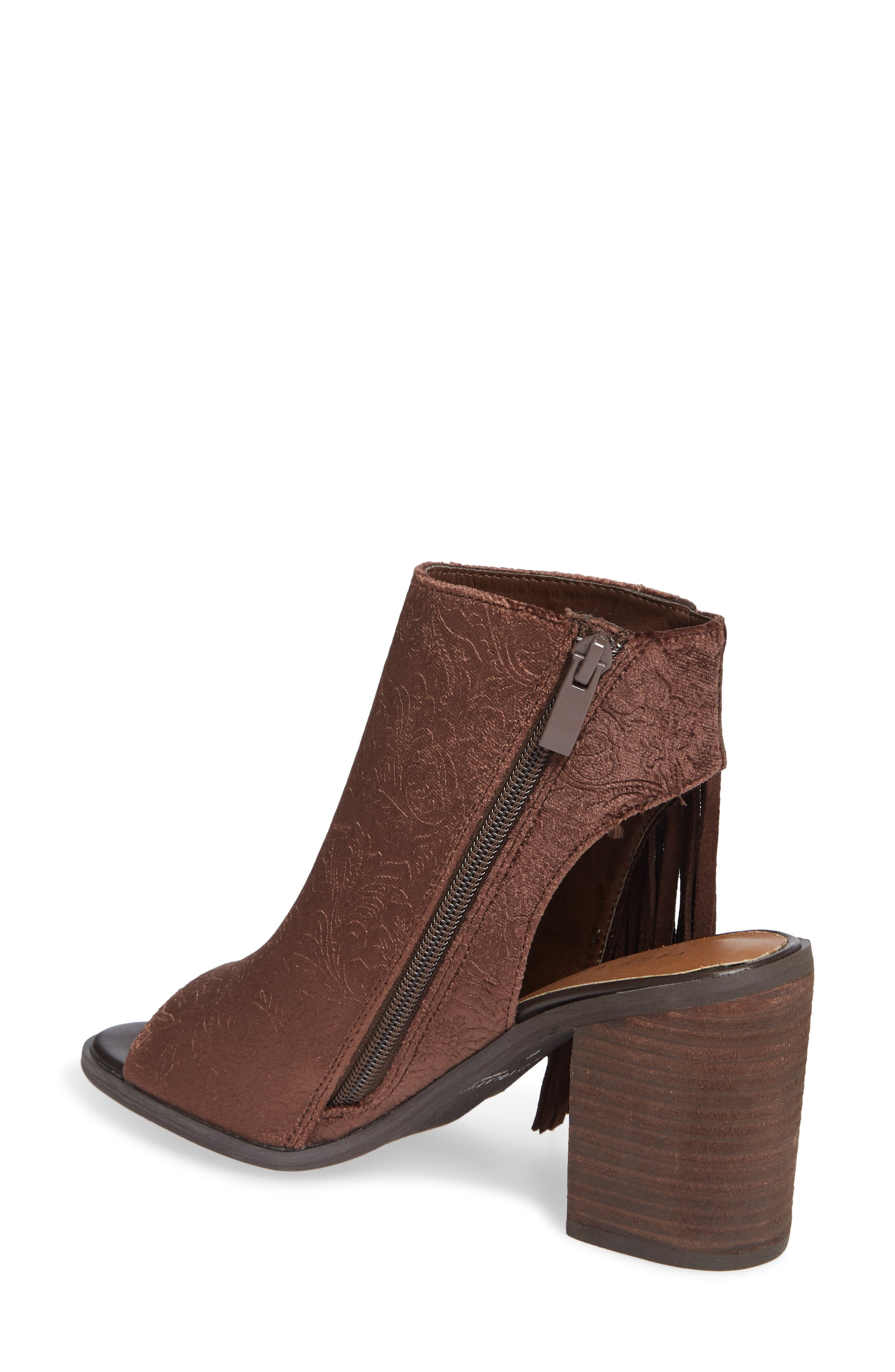 VERY VOLATILE,                             Pony Express Fringe Bootie Sandal,                             Alternate thumbnail 2, color,                             BROWN