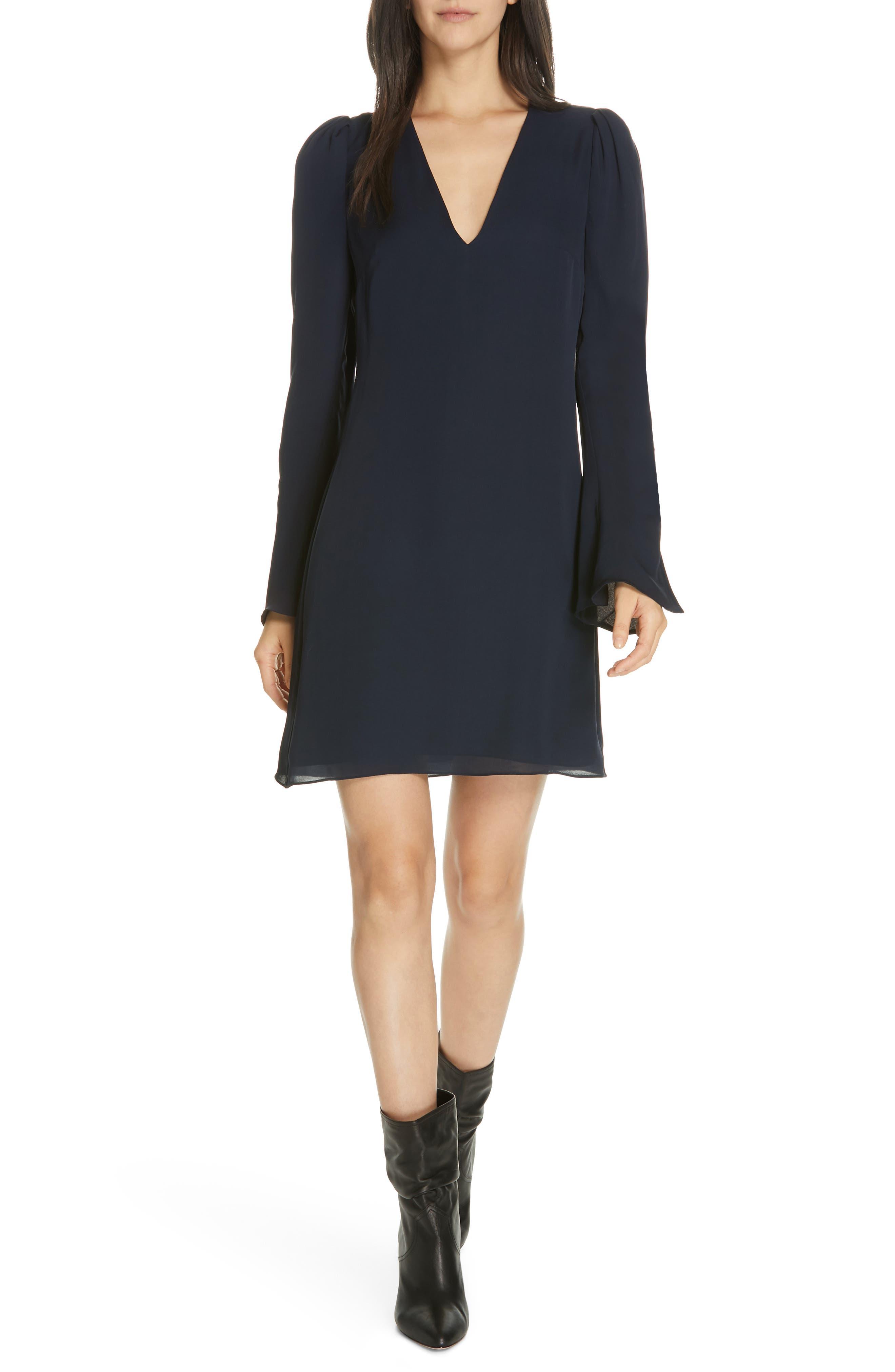 Joie Abnar Flare Sleeve Silk Chiffon Dress