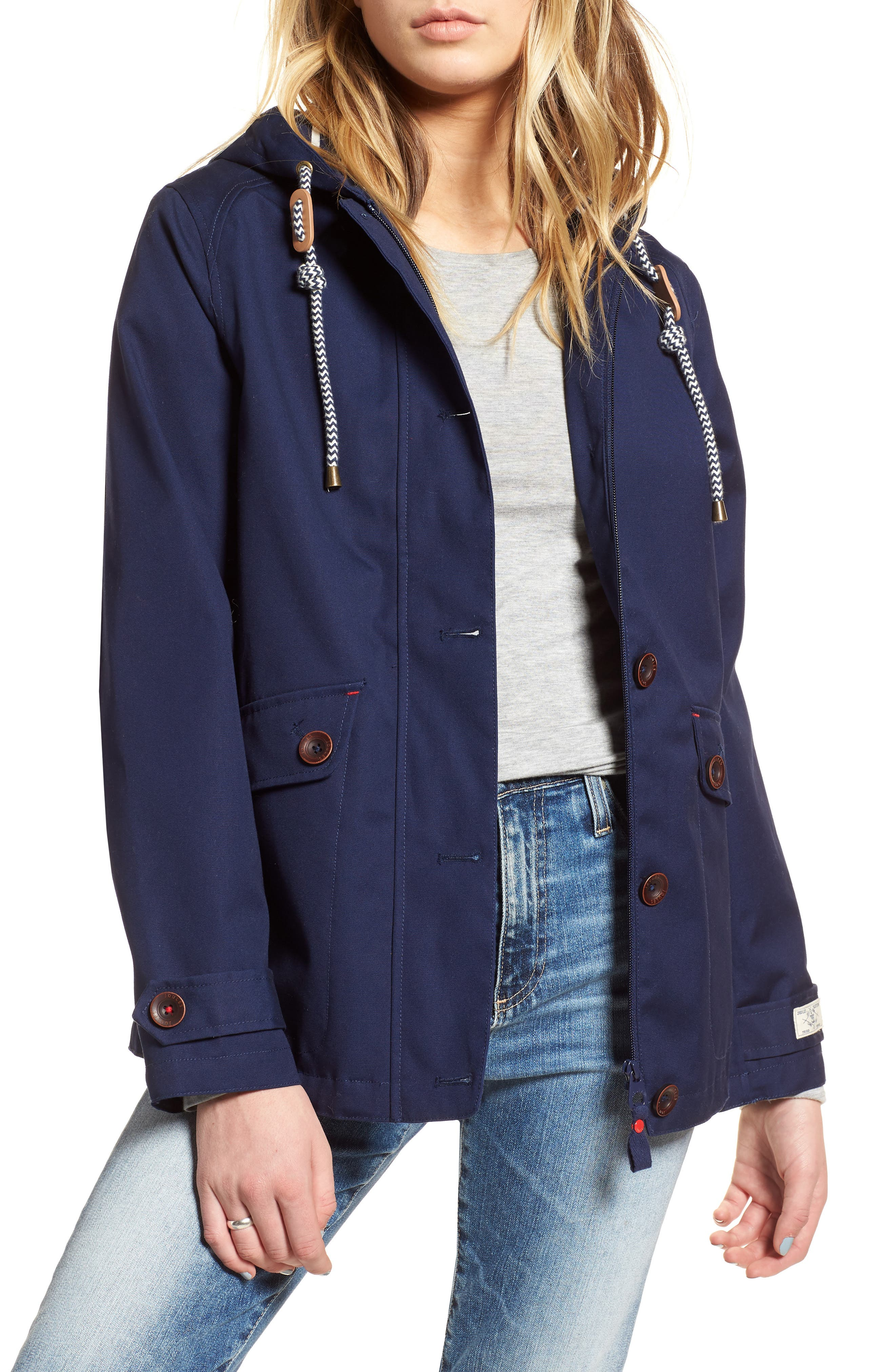 Right as Rain Waterproof Hooded Jacket,                         Main,                         color, FRENCH NAVY