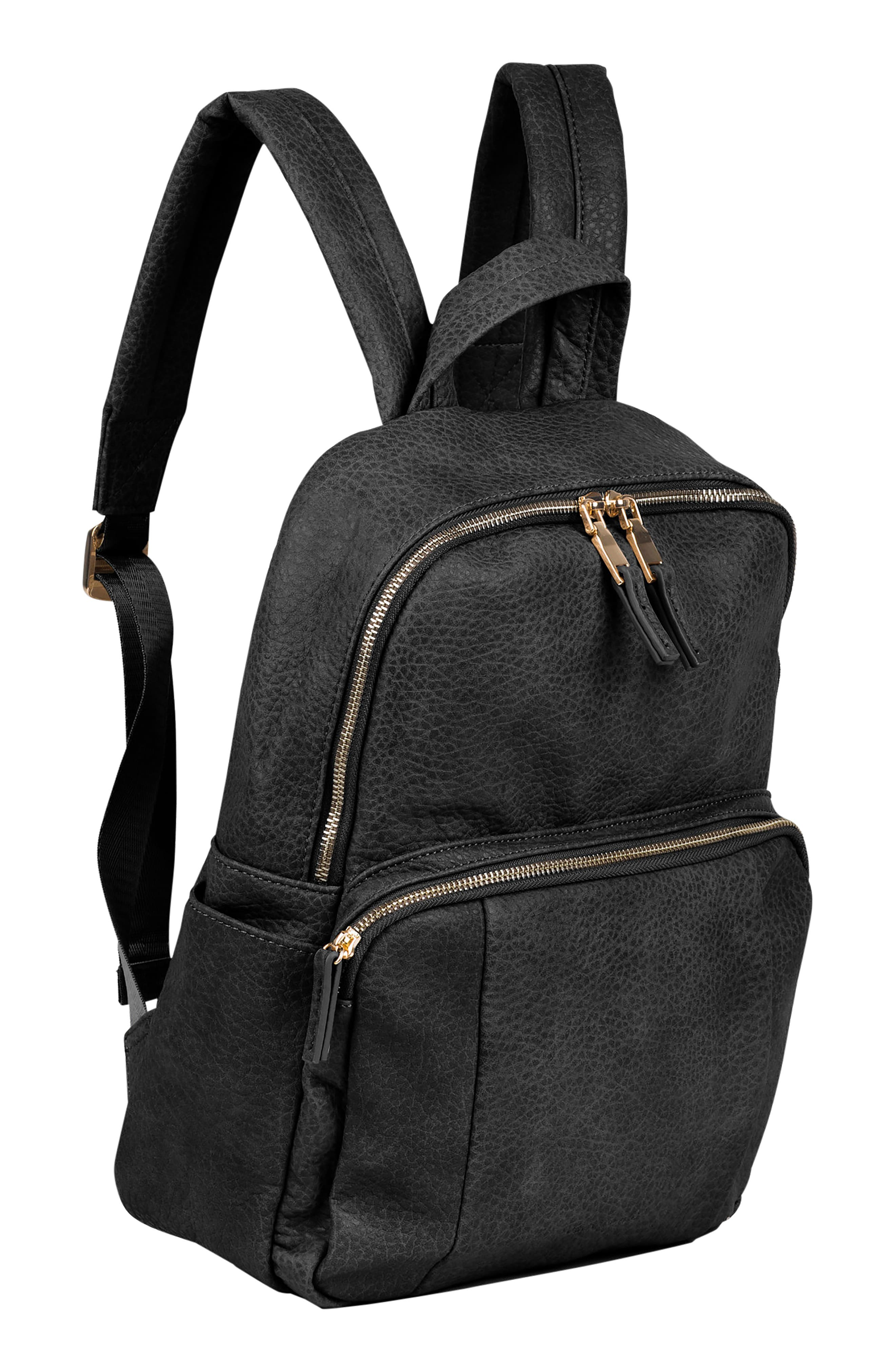 URBAN ORIGINALS,                             Bold Move Vegan Leather Laptop Backpack,                             Alternate thumbnail 4, color,                             BLACK