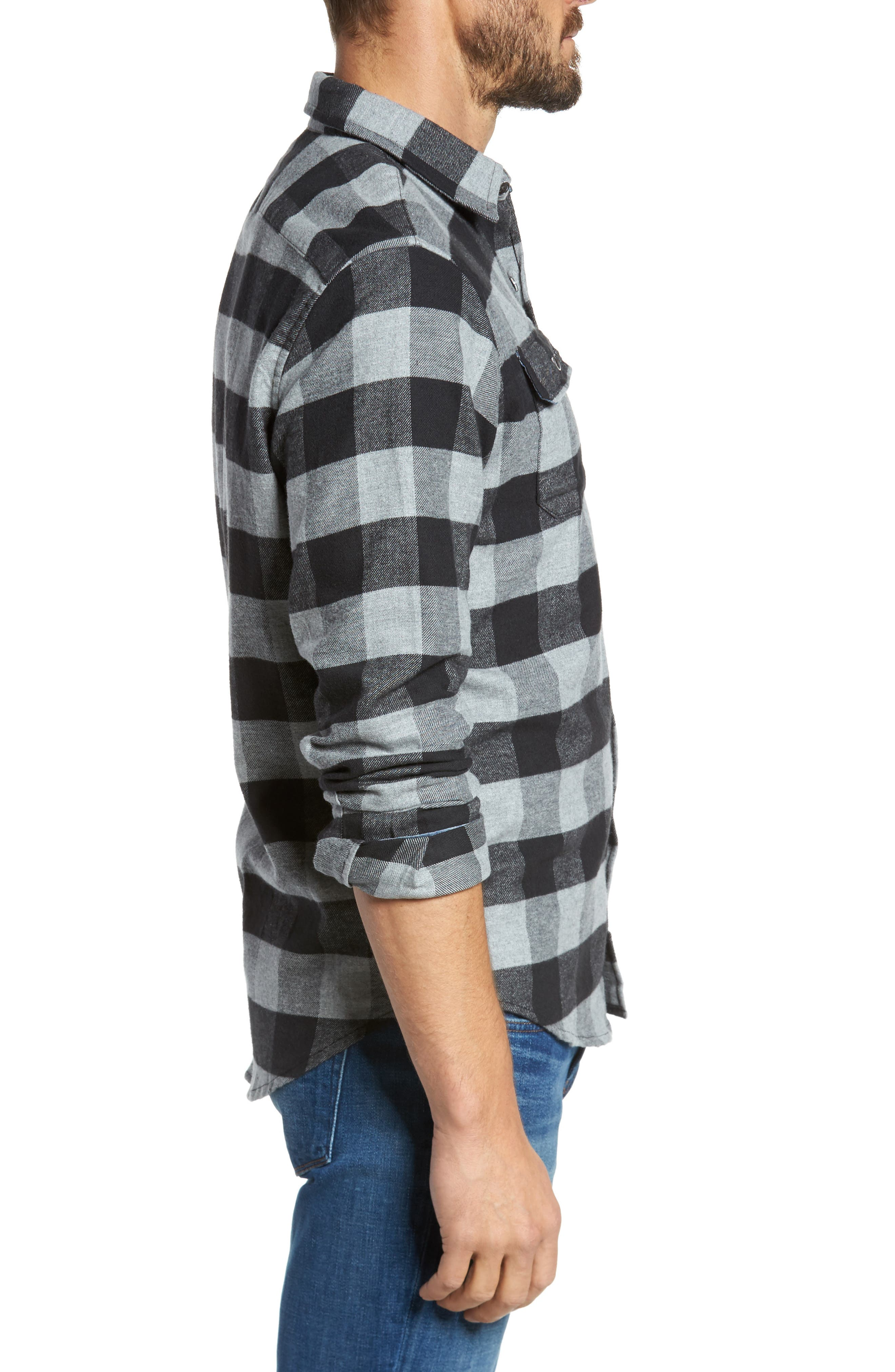 Buffalo Check Flannel Shirt,                             Alternate thumbnail 5, color,