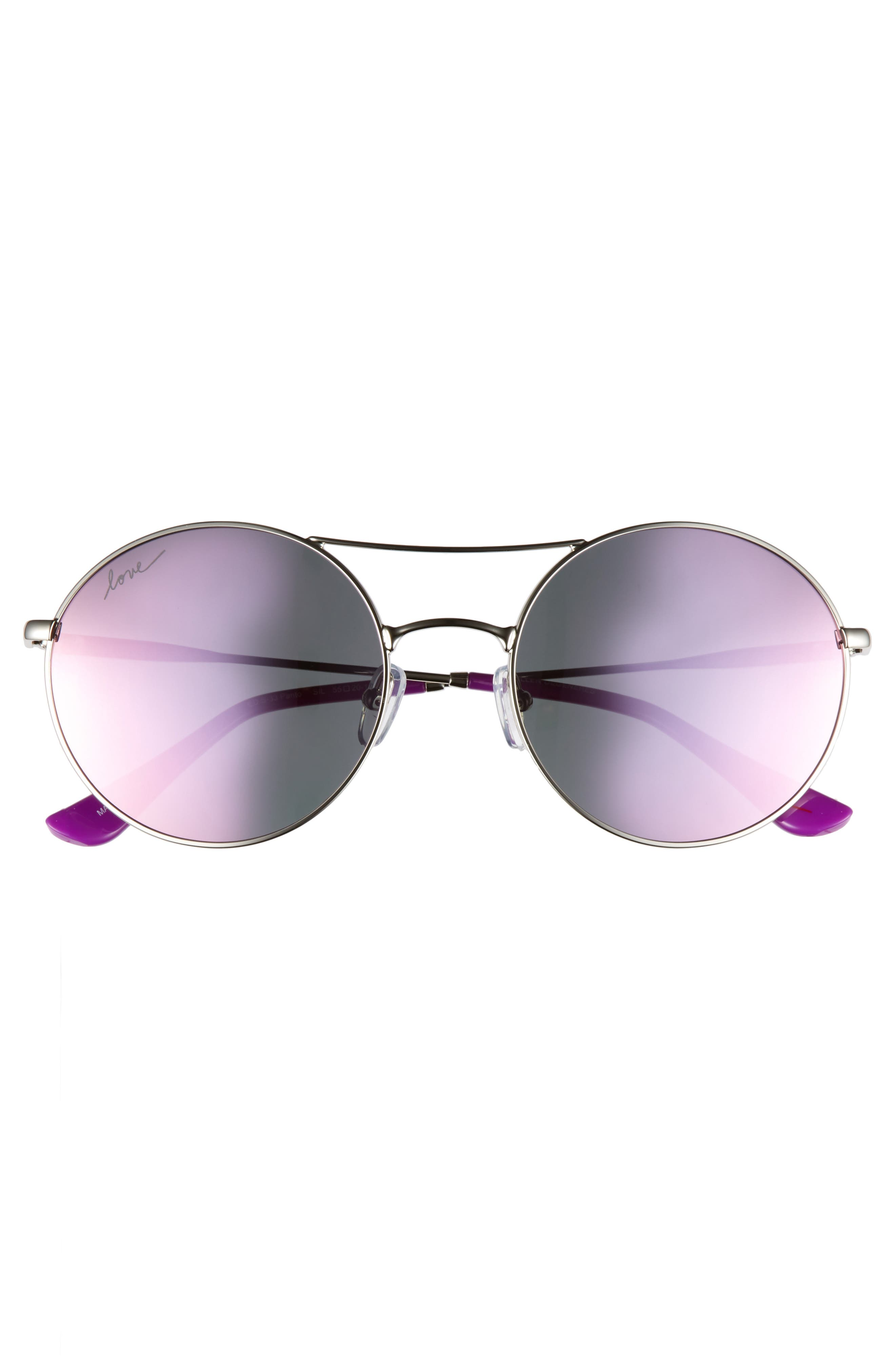 55mm Round Sunglasses,                             Alternate thumbnail 3, color,                             SILVER
