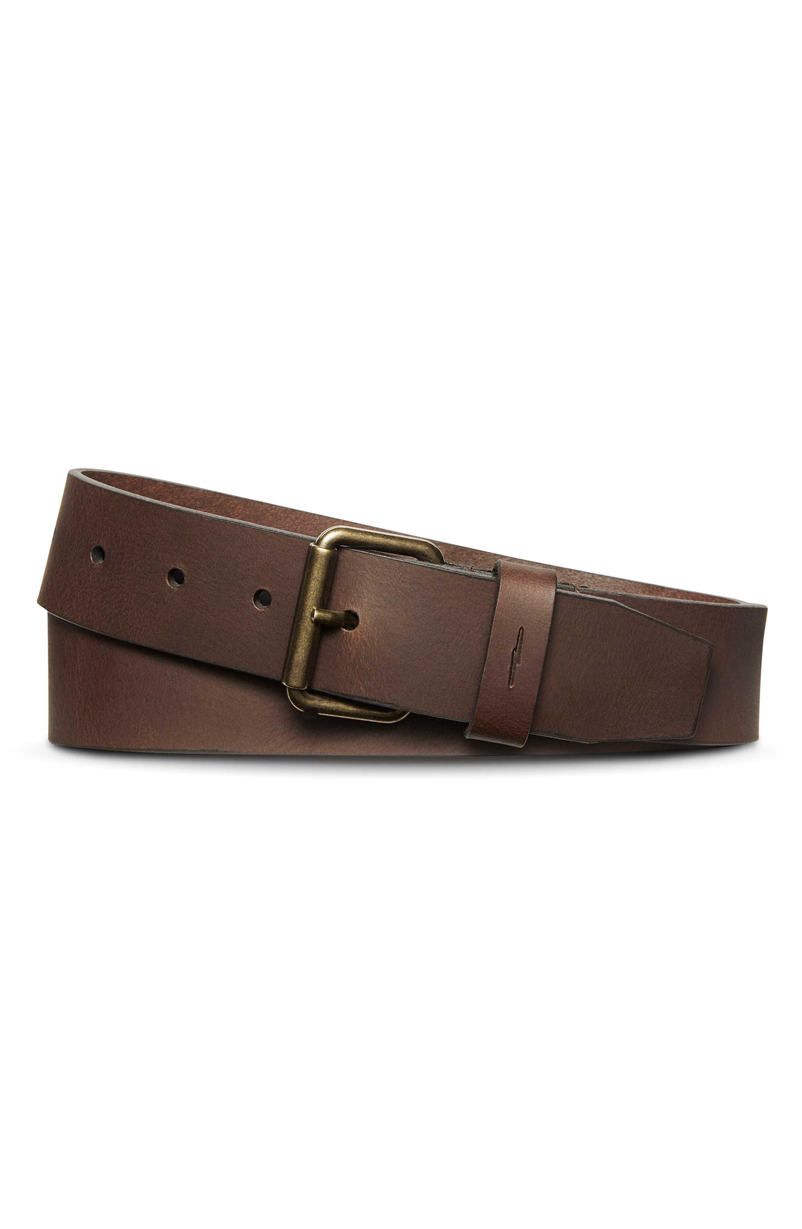 Shinola Rambler Leather Belt, Dark Brown