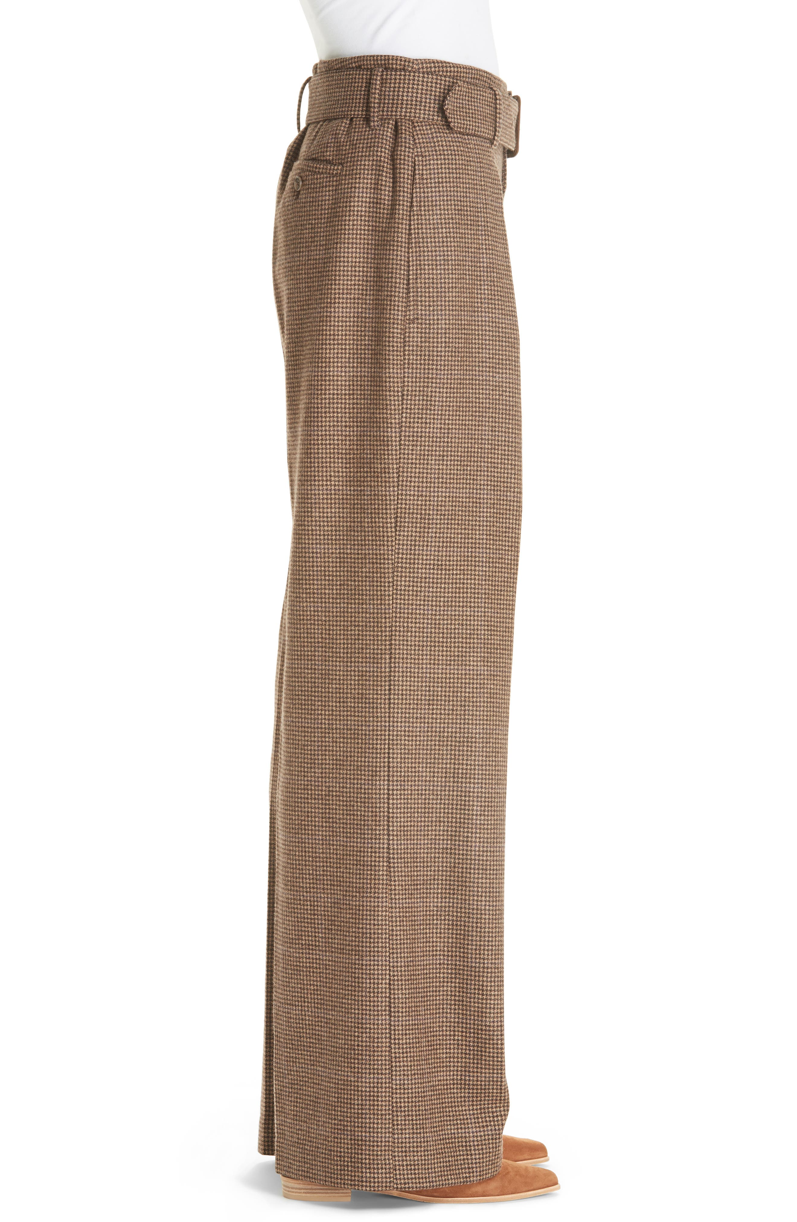 Relaxed Wide Leg Tweed Pants,                             Alternate thumbnail 3, color,                             200