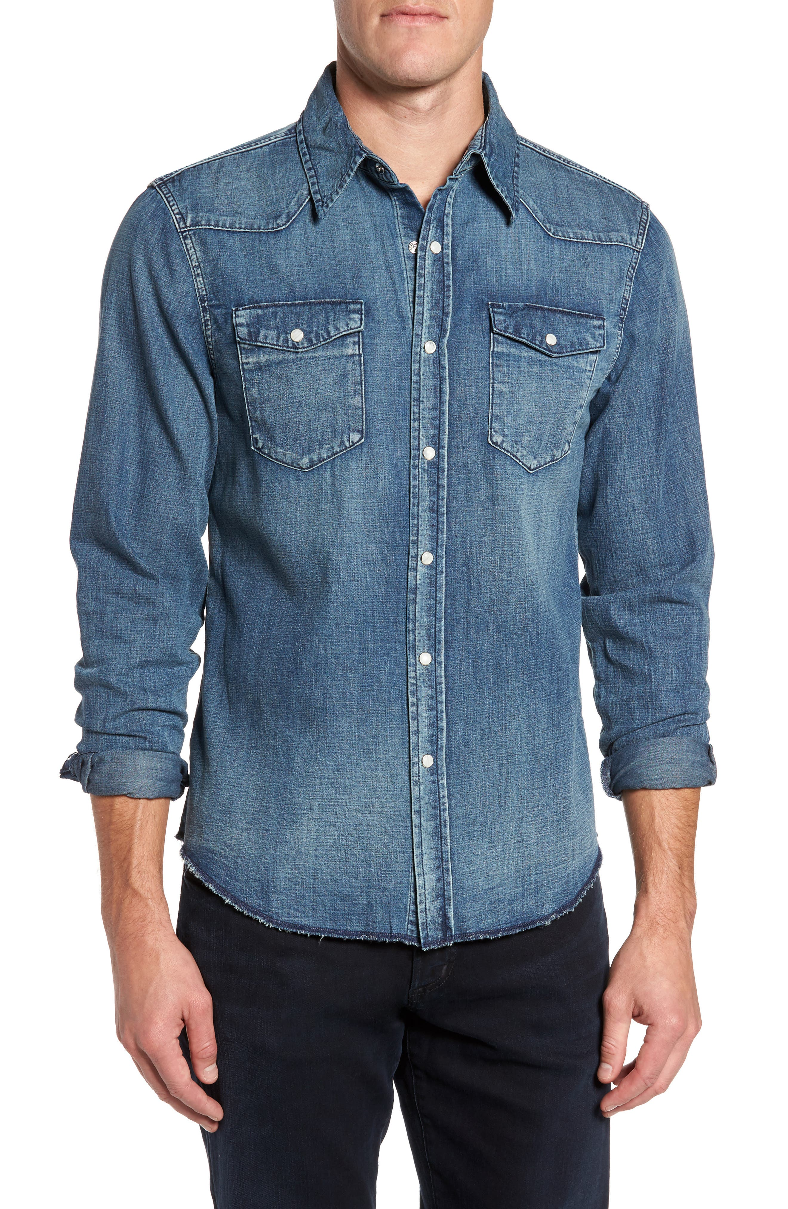 Denim Western Shirt,                         Main,                         color, 401