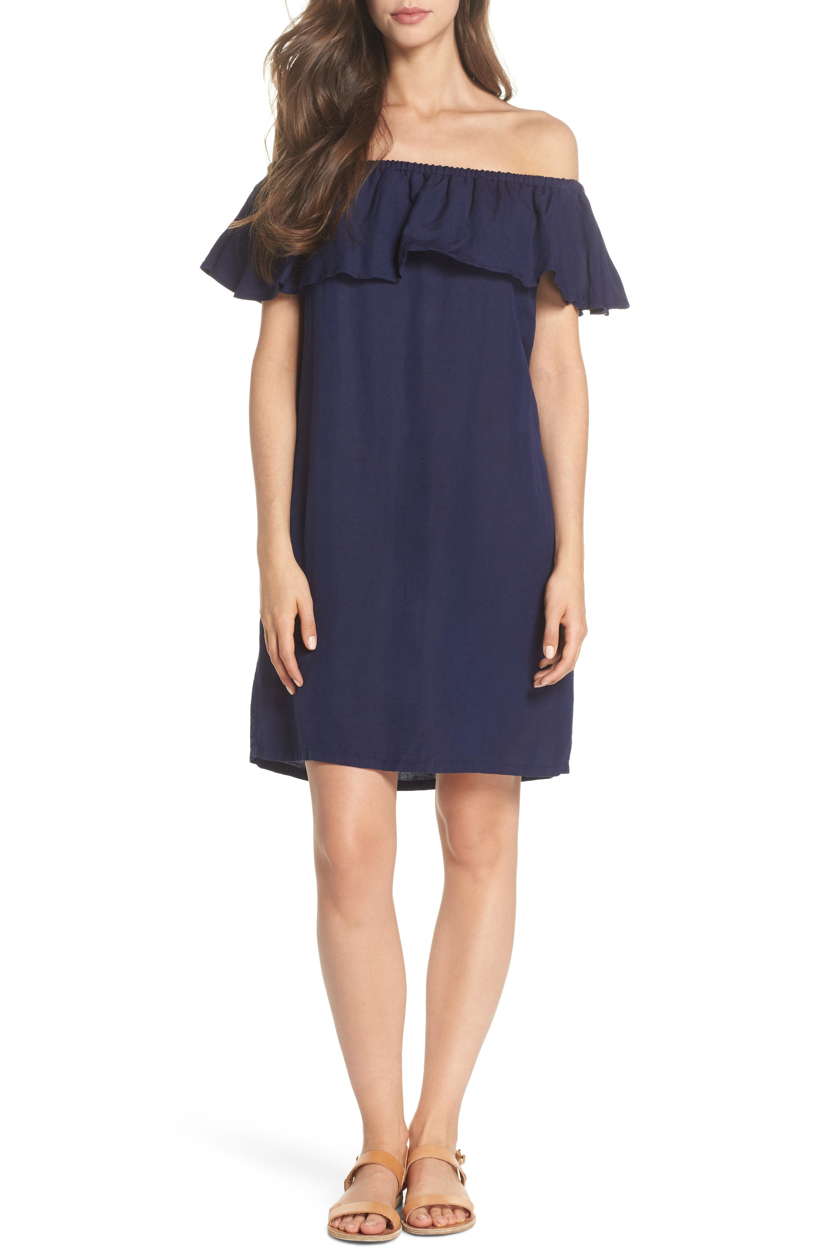 Off the Shoulder Cover-Up Dress,                         Main,                         color, MARE BLUE