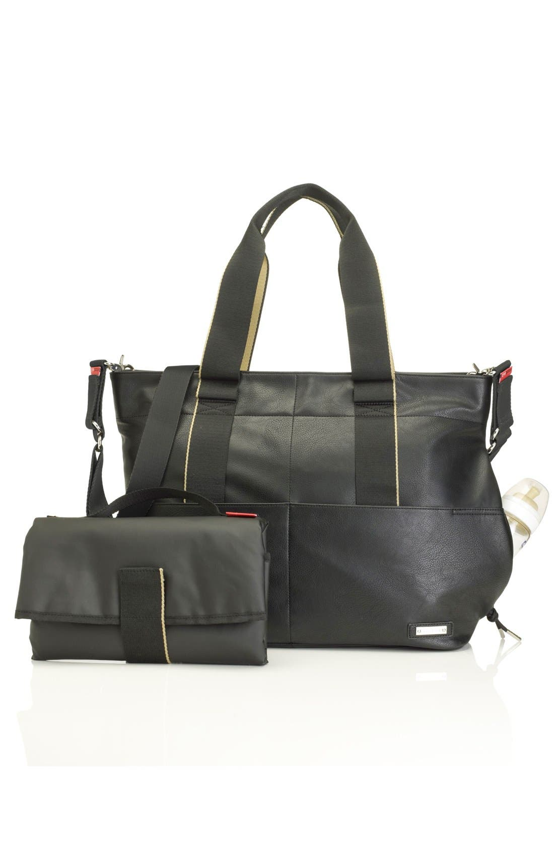 'Eden' Faux Leather Diaper Bag,                             Alternate thumbnail 2, color,                             BLACK