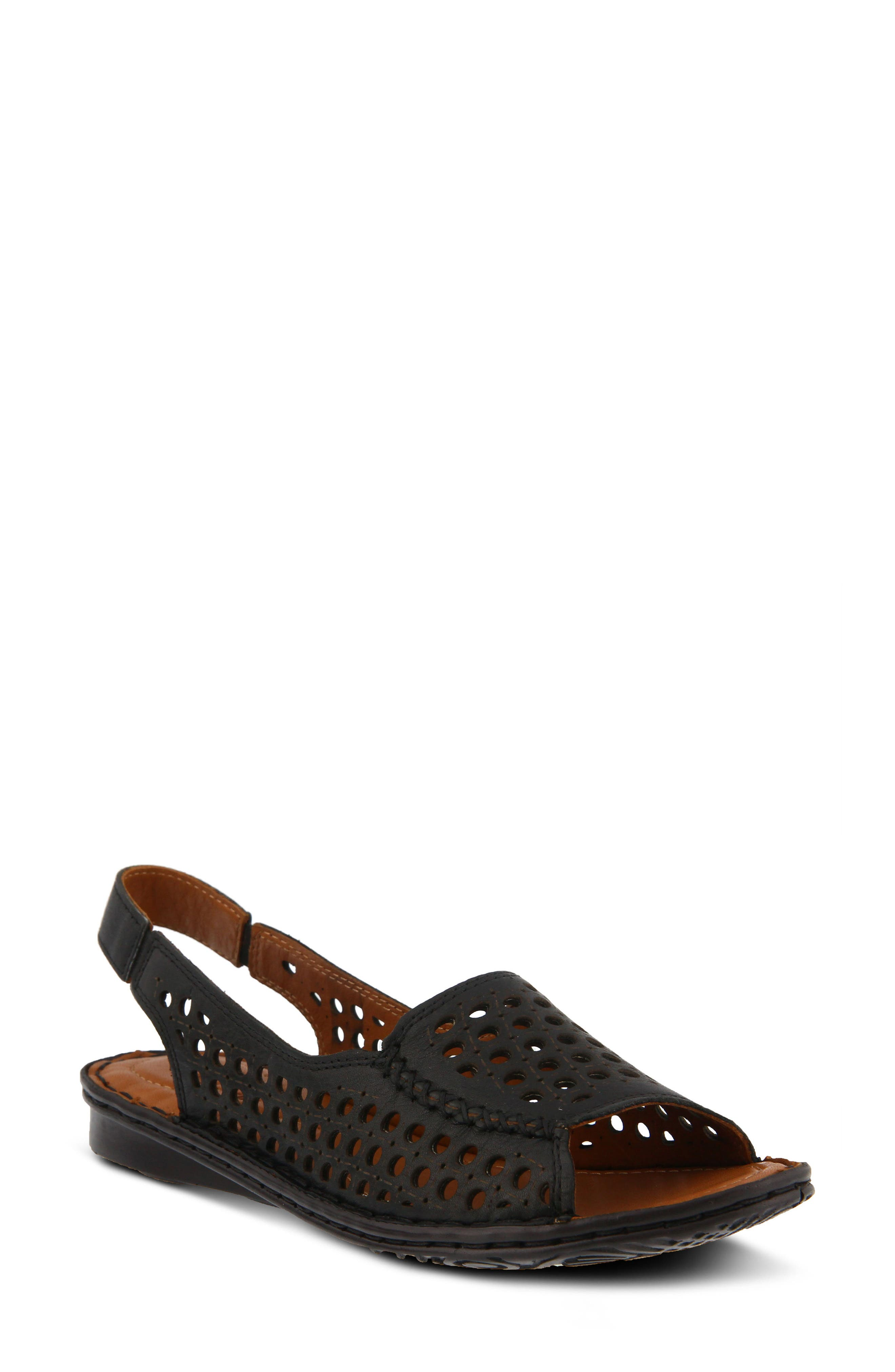 Jordana Slingback Sandal,                             Main thumbnail 1, color,                             BLACK LEATHER