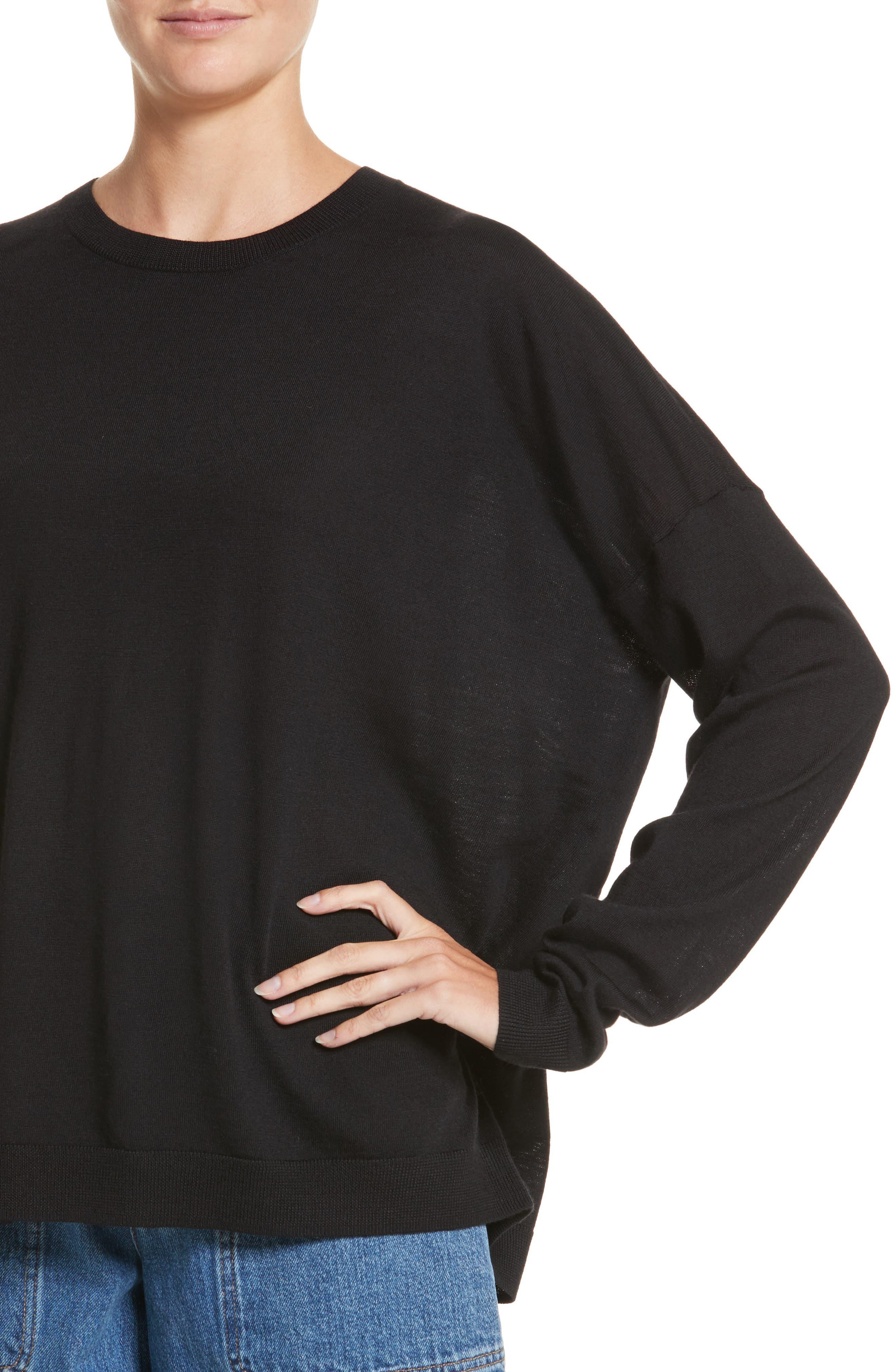 Karel Oversize Merino Sweater,                             Alternate thumbnail 4, color,                             001
