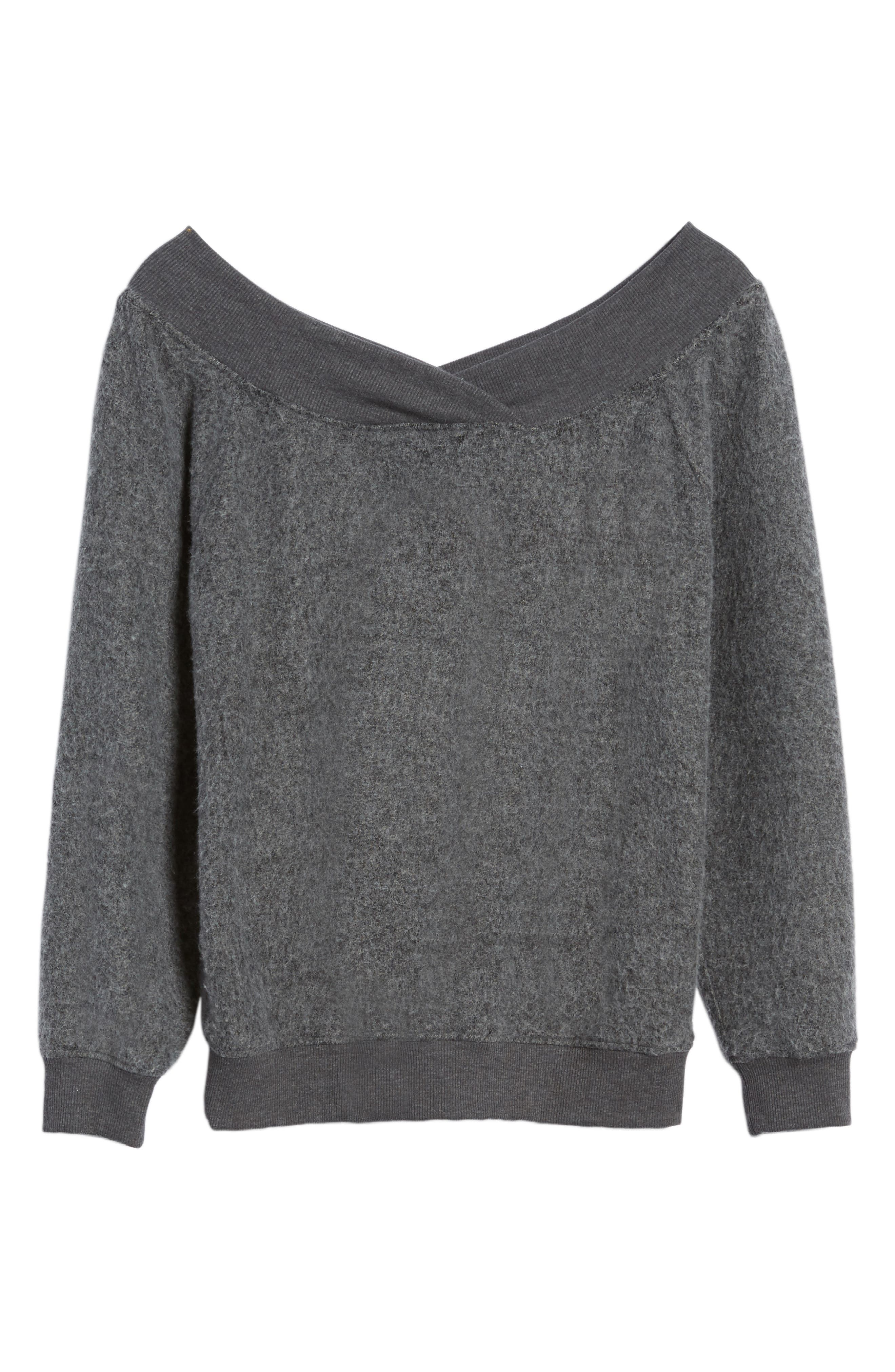 Off the Shoulder Fleece Top,                             Alternate thumbnail 6, color,                             020