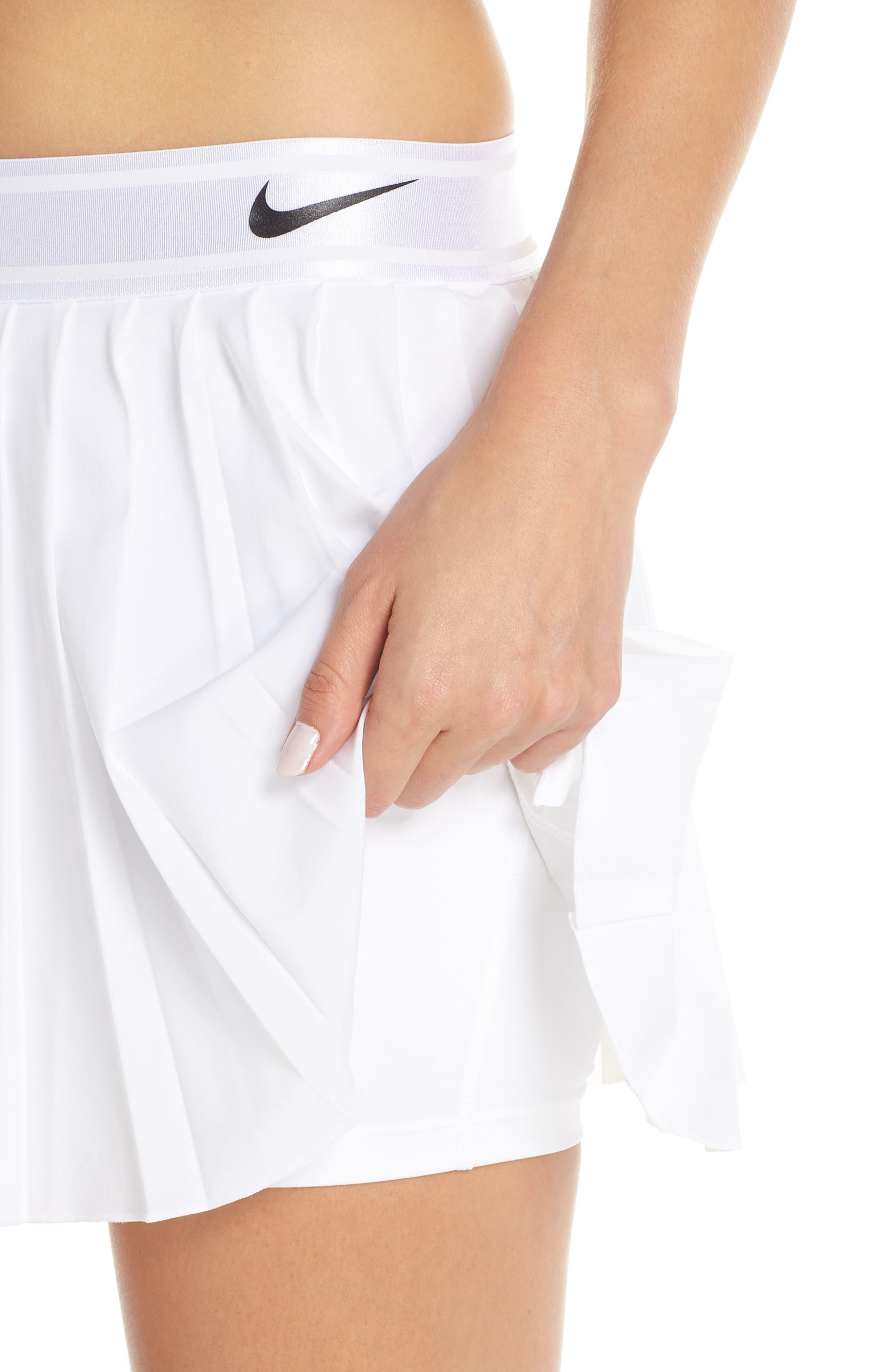 Court Victory Tennis Skirt,                             Alternate thumbnail 4, color,                             WHITE/ BLACK