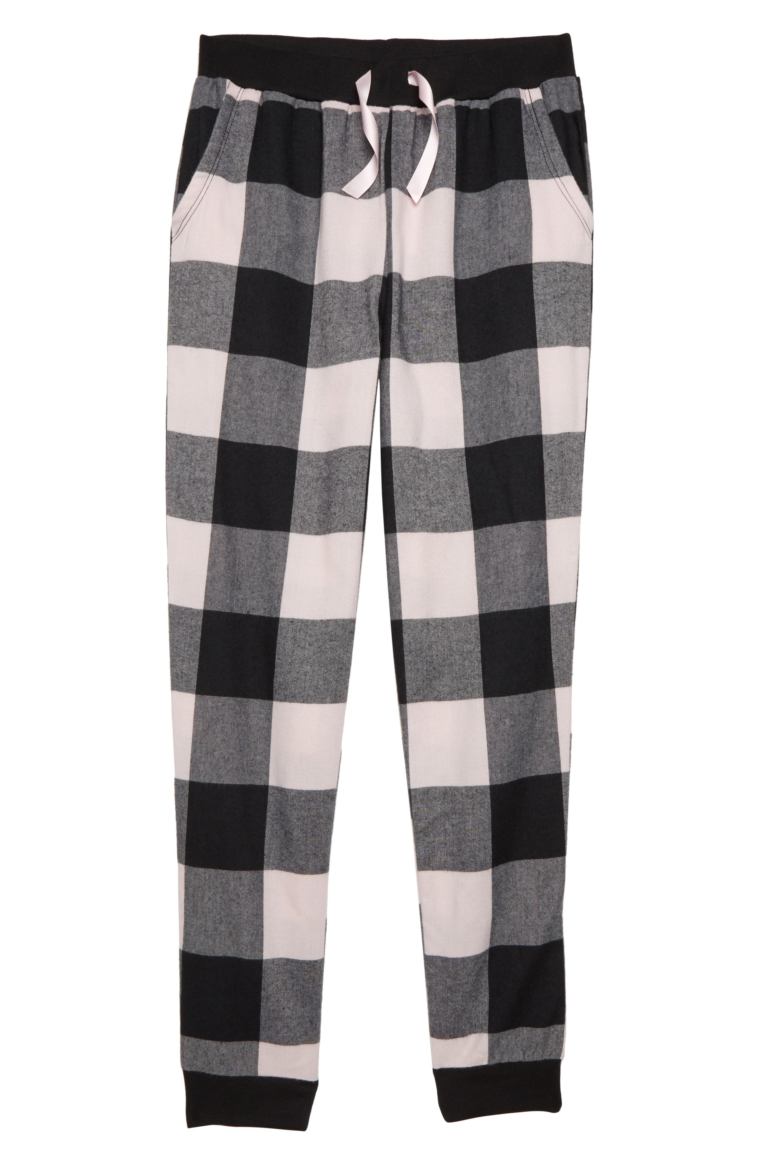 TUCKER + TATE Flannel Pajama Pants, Main, color, BLACK- PINK PLAID
