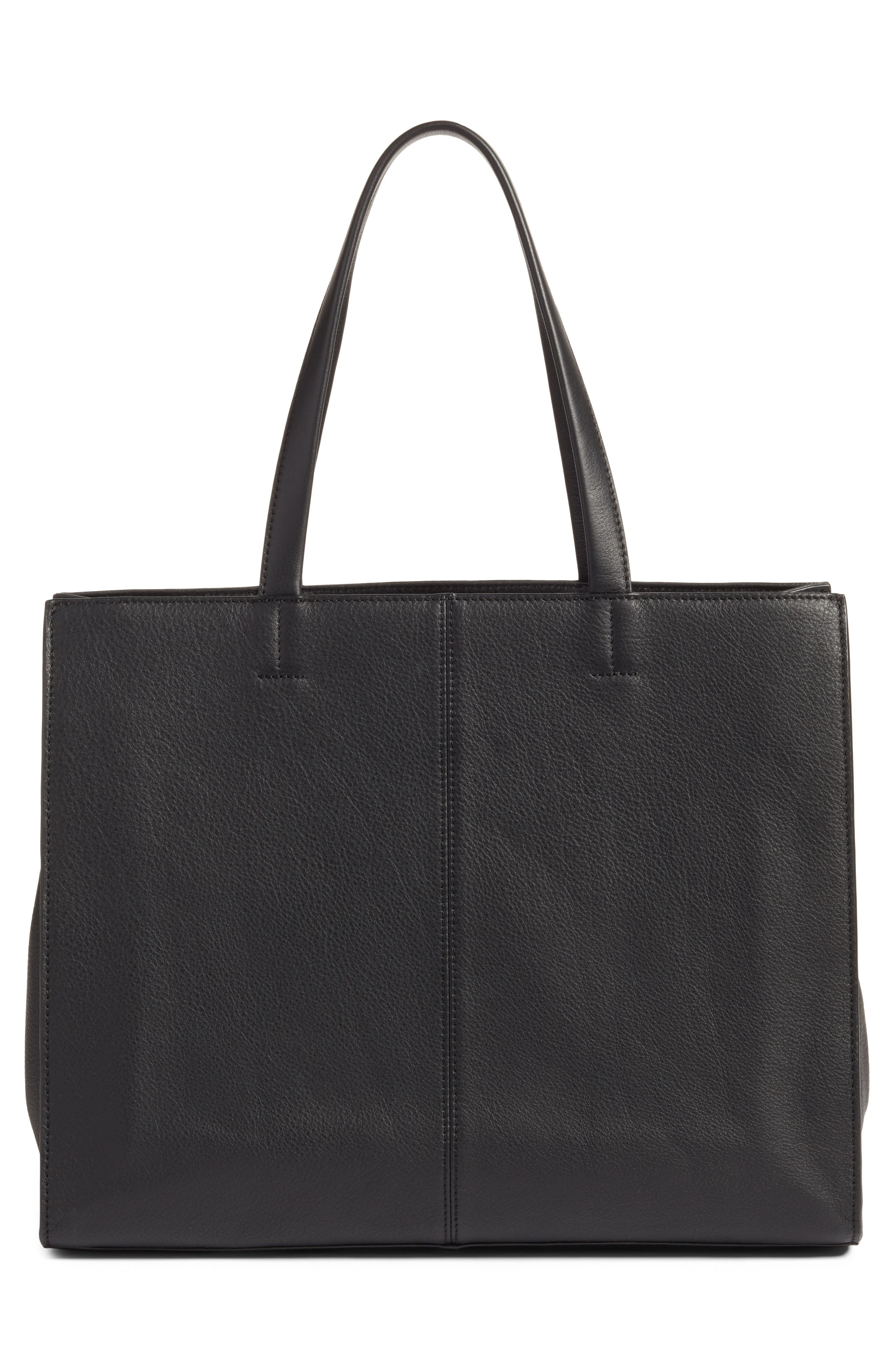 VINCE CAMUTO,                             Elvan Leather Tote,                             Alternate thumbnail 3, color,                             001