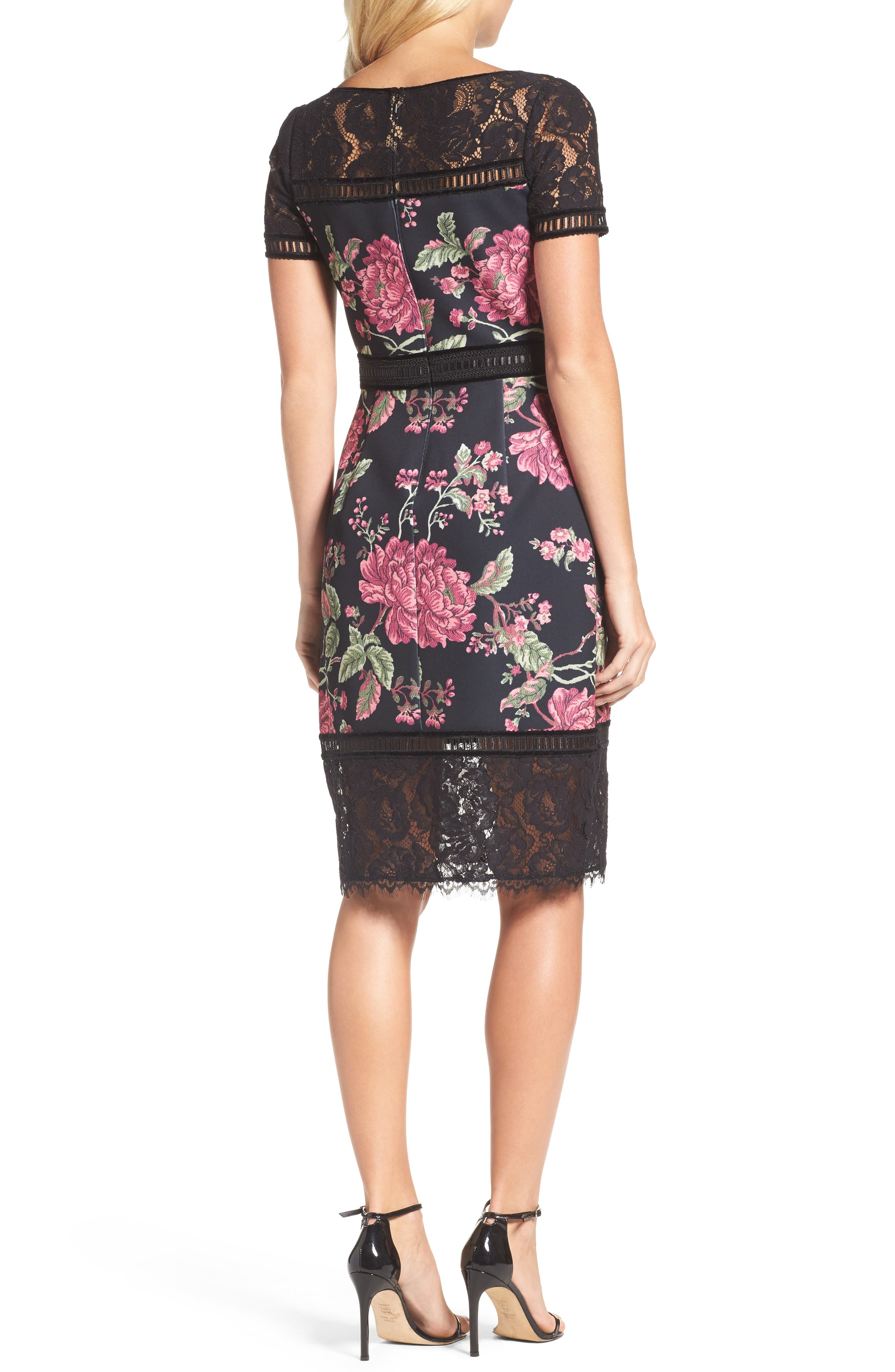 Floral Neoprene & Lace Sheath Dress,                             Alternate thumbnail 2, color,                             BLACK