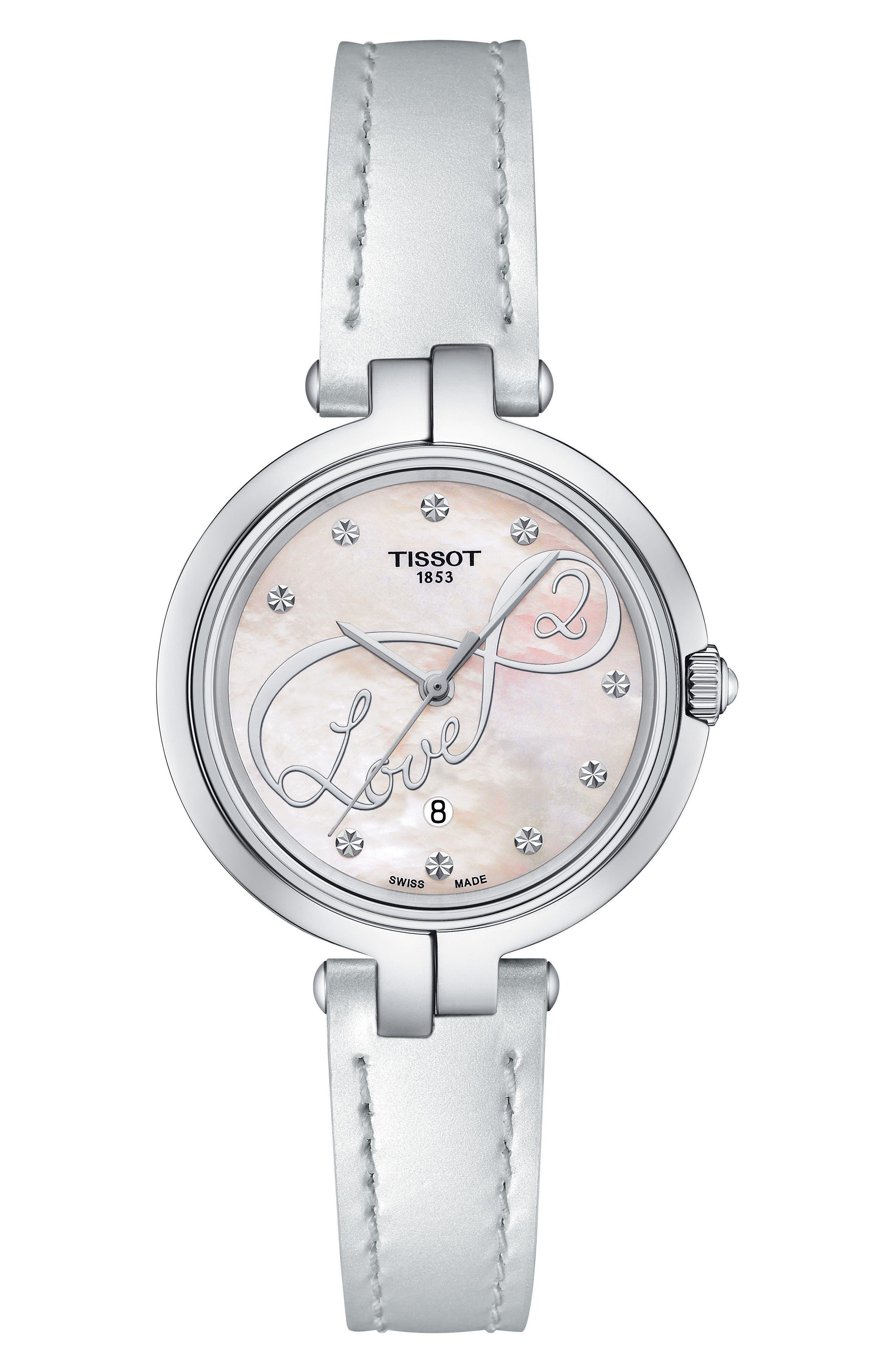 TISSOT Flamingo Leather Strap Watch, 26mm, Main, color, 100