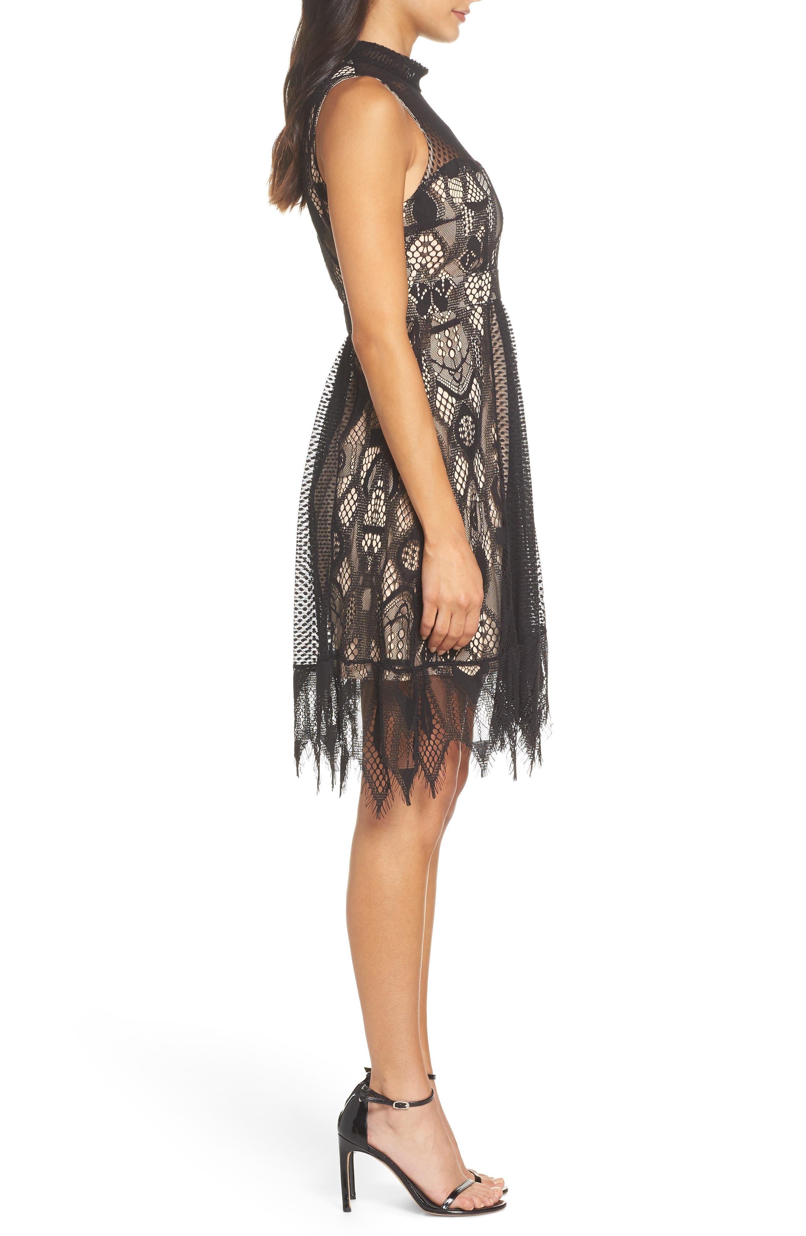 Gloria Fit & Flare Dress,                             Alternate thumbnail 3, color,                             001