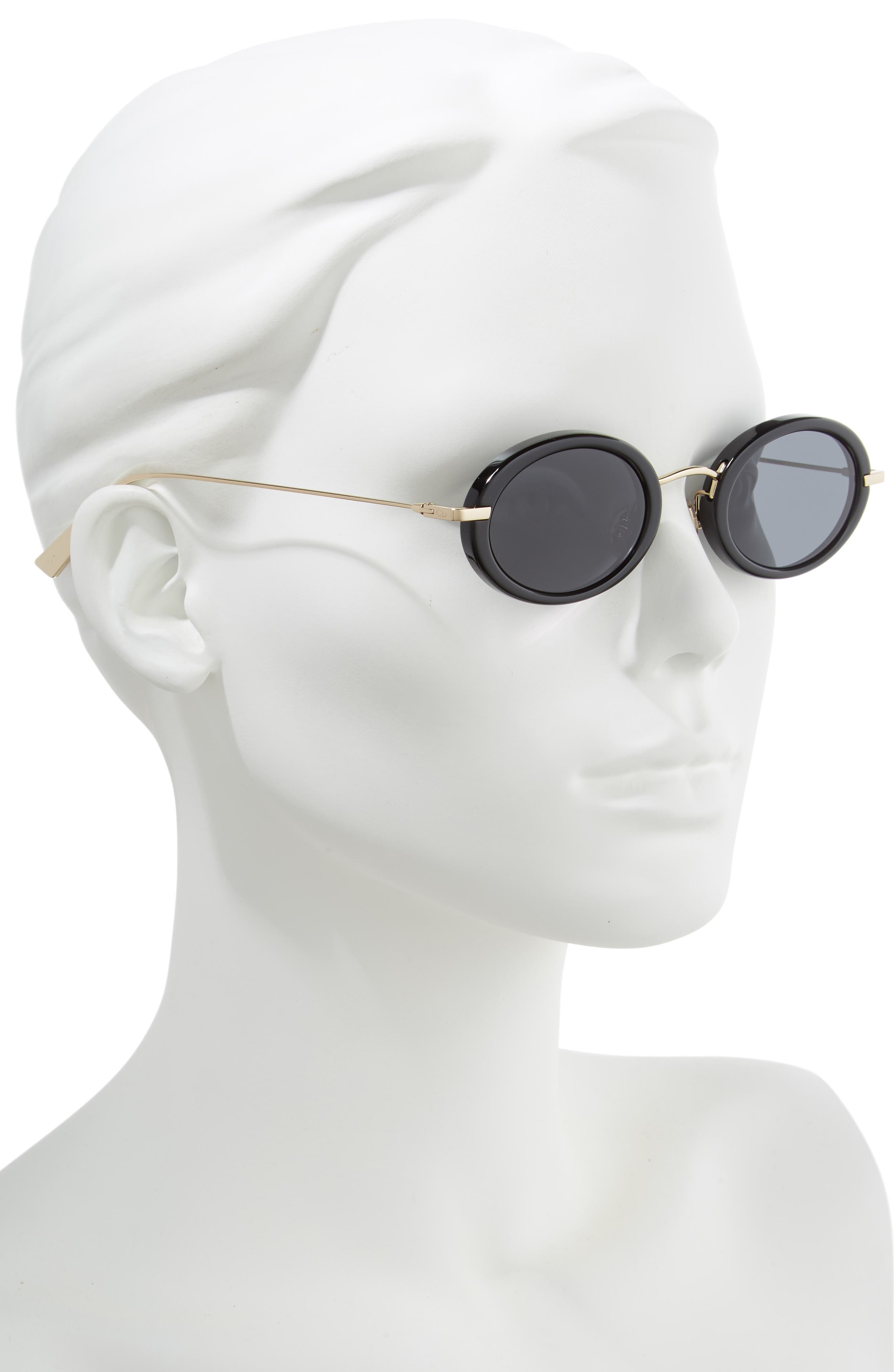 Christian Dior Hypnotic2 46mm Round Sunglasses,                             Alternate thumbnail 2, color,                             BLACK/ ANTIREFLECTIVE/ GOLD