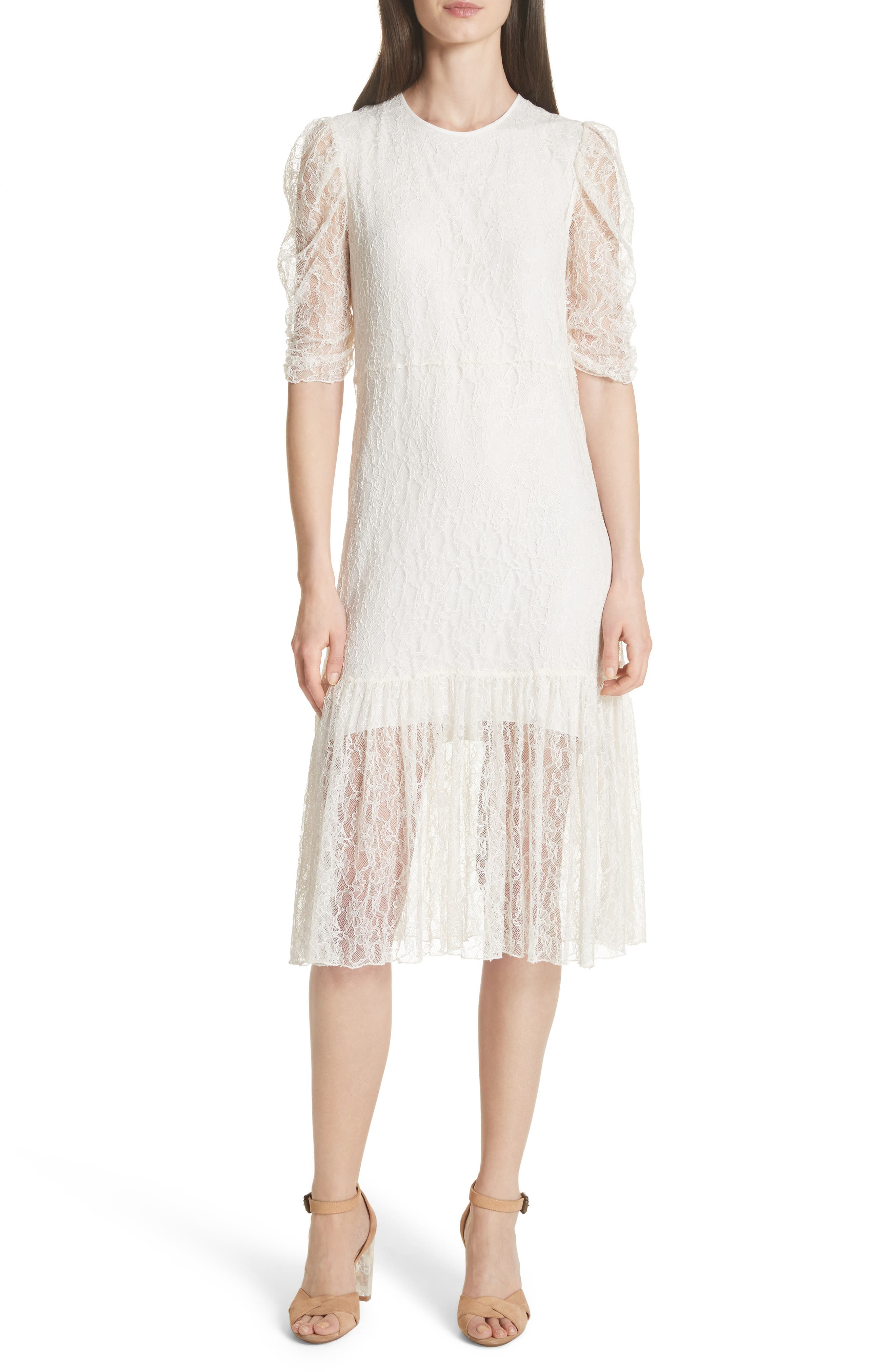 Lace Dress,                             Main thumbnail 1, color,                             WHITE