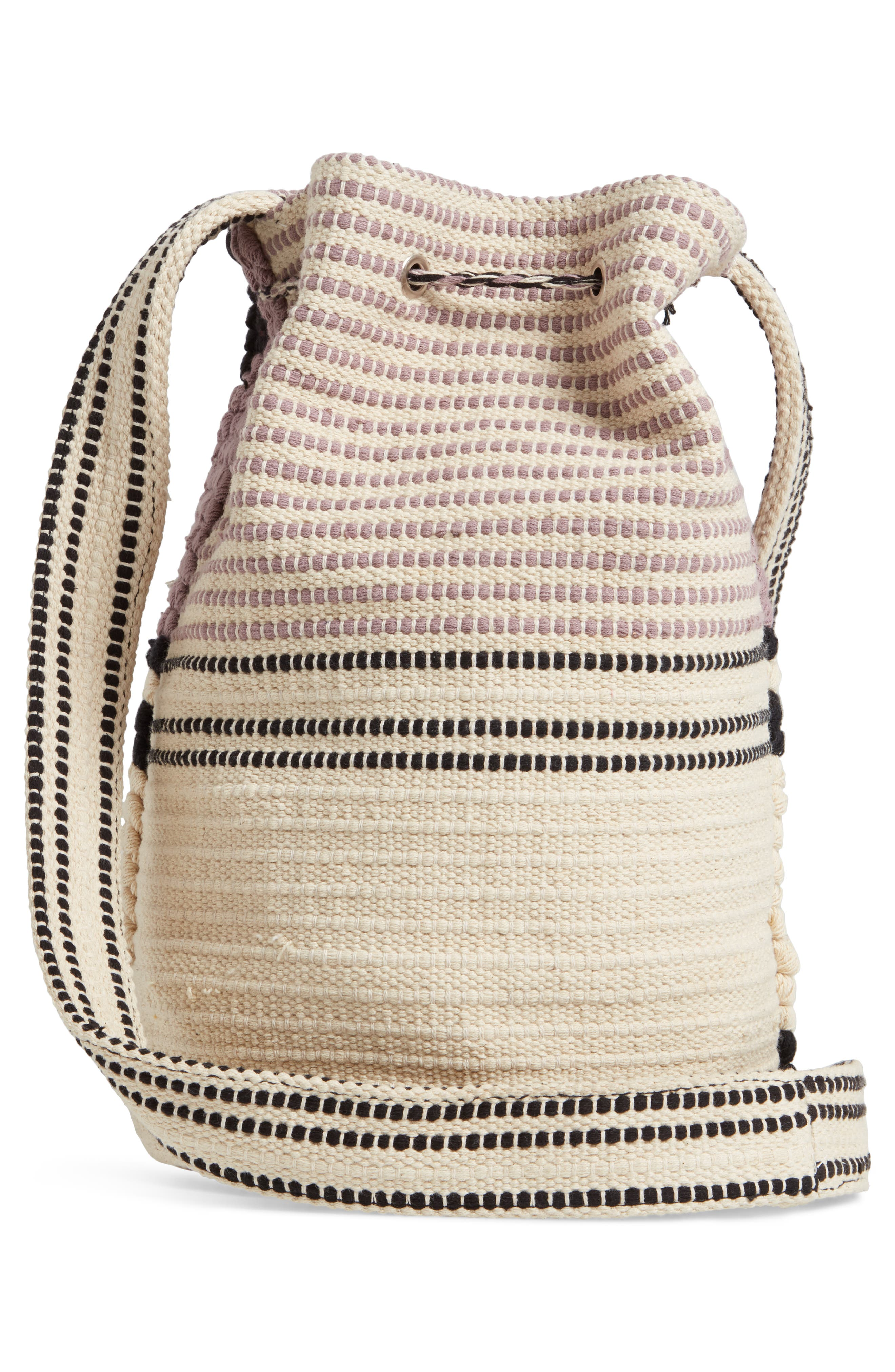 Halay Woven Bucket Bag,                             Alternate thumbnail 3, color,                             BLACK/ CREAM