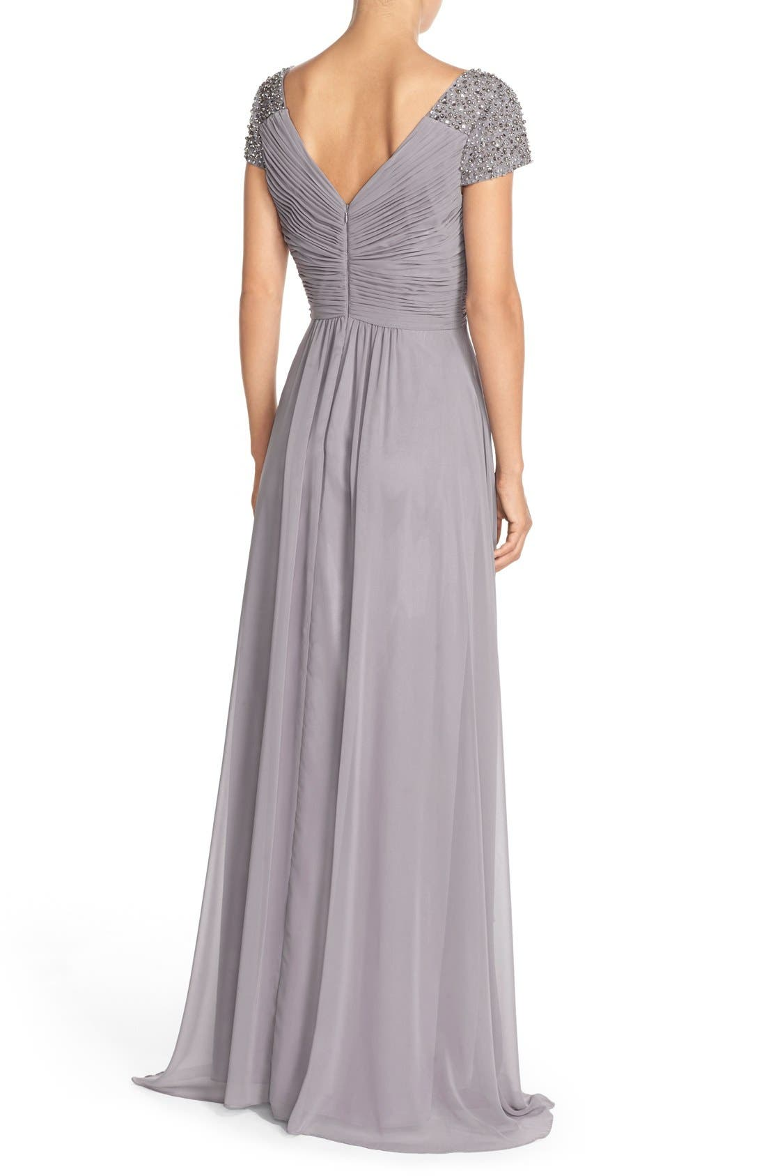 Embellished Pleated Chiffon Gown,                             Alternate thumbnail 8, color,                             030