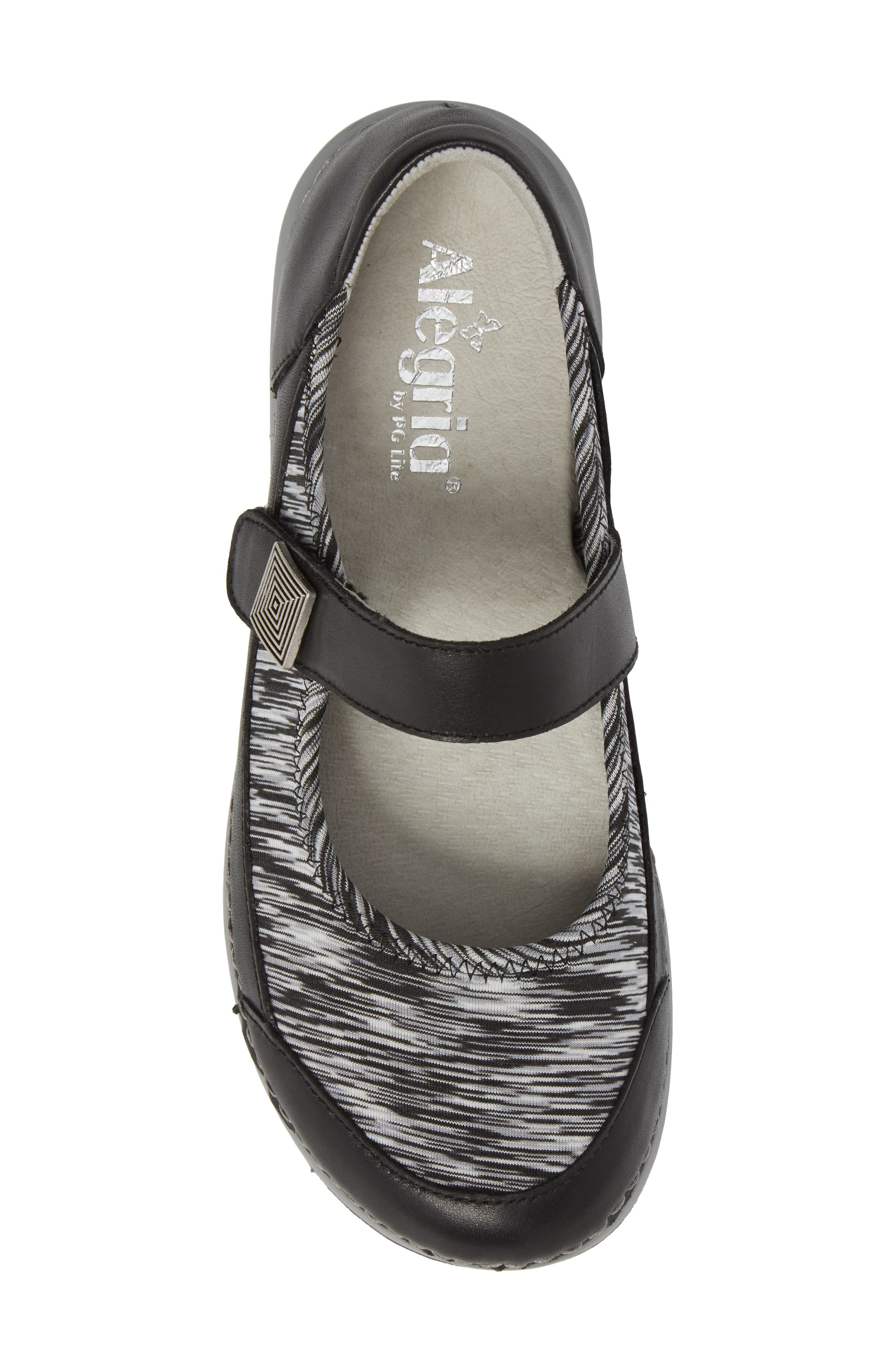 Gem Mary Jane Flat,                             Alternate thumbnail 5, color,                             BLACK LEATHER