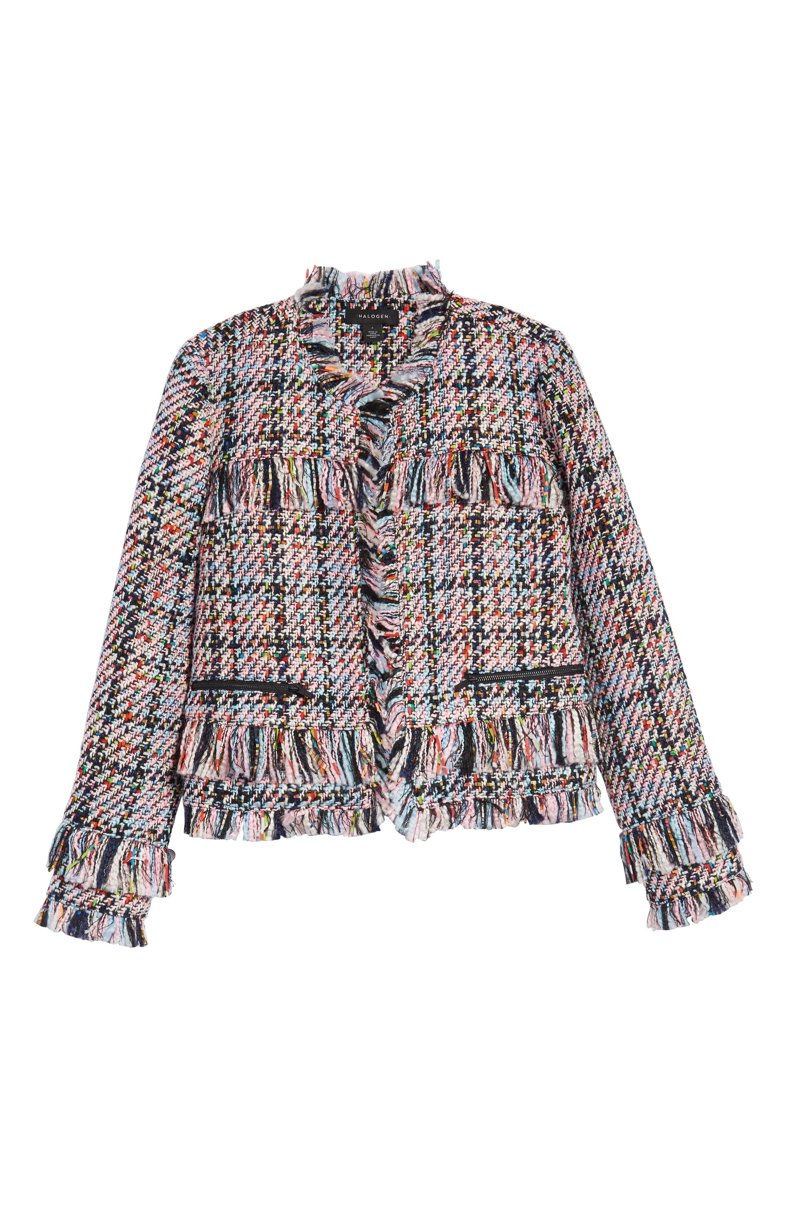 Raw Edge Tweed Jacket,                             Alternate thumbnail 6, color,                             680