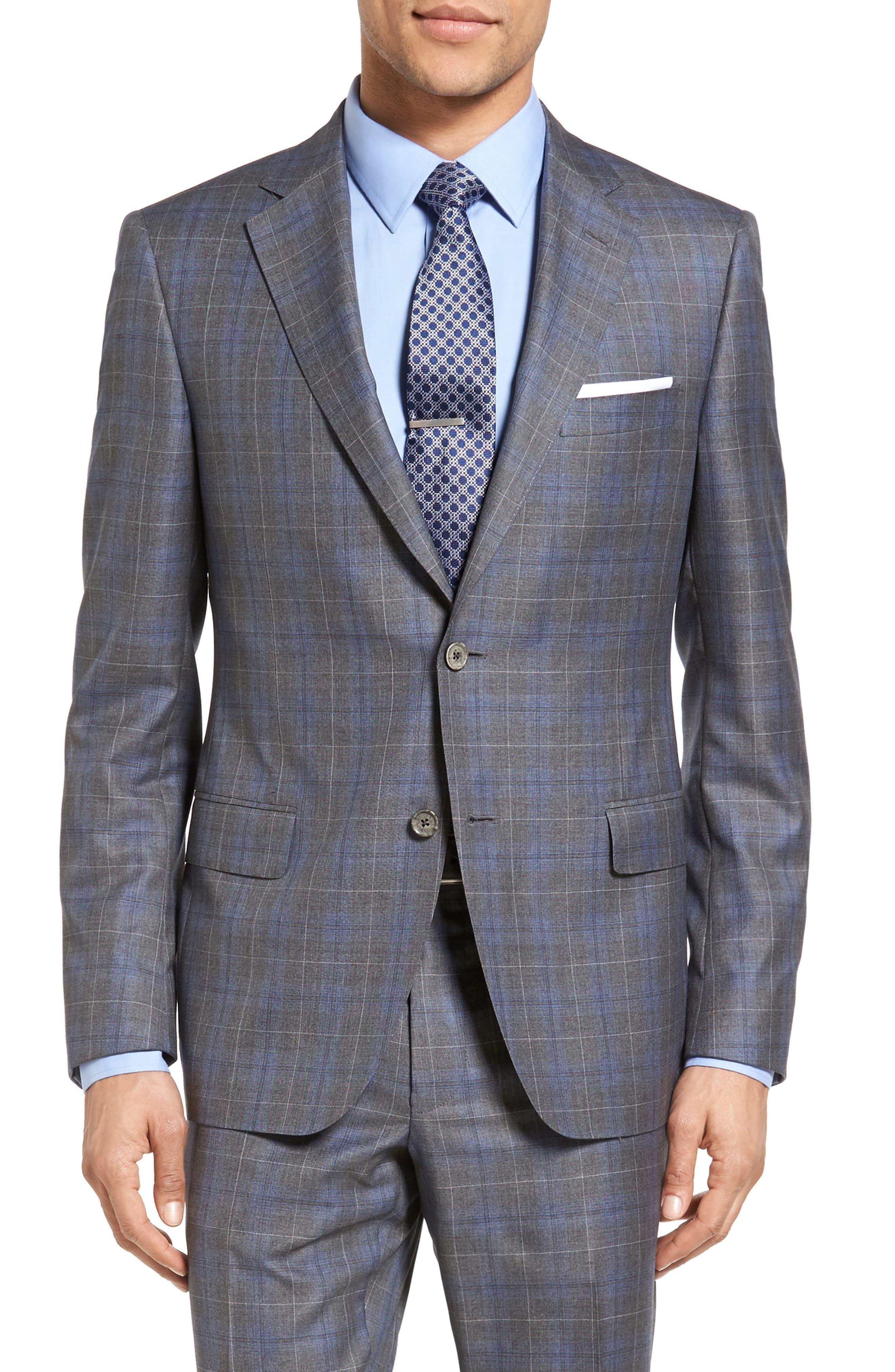 Classic Fit Plaid Wool & Silk Suit,                             Alternate thumbnail 5, color,