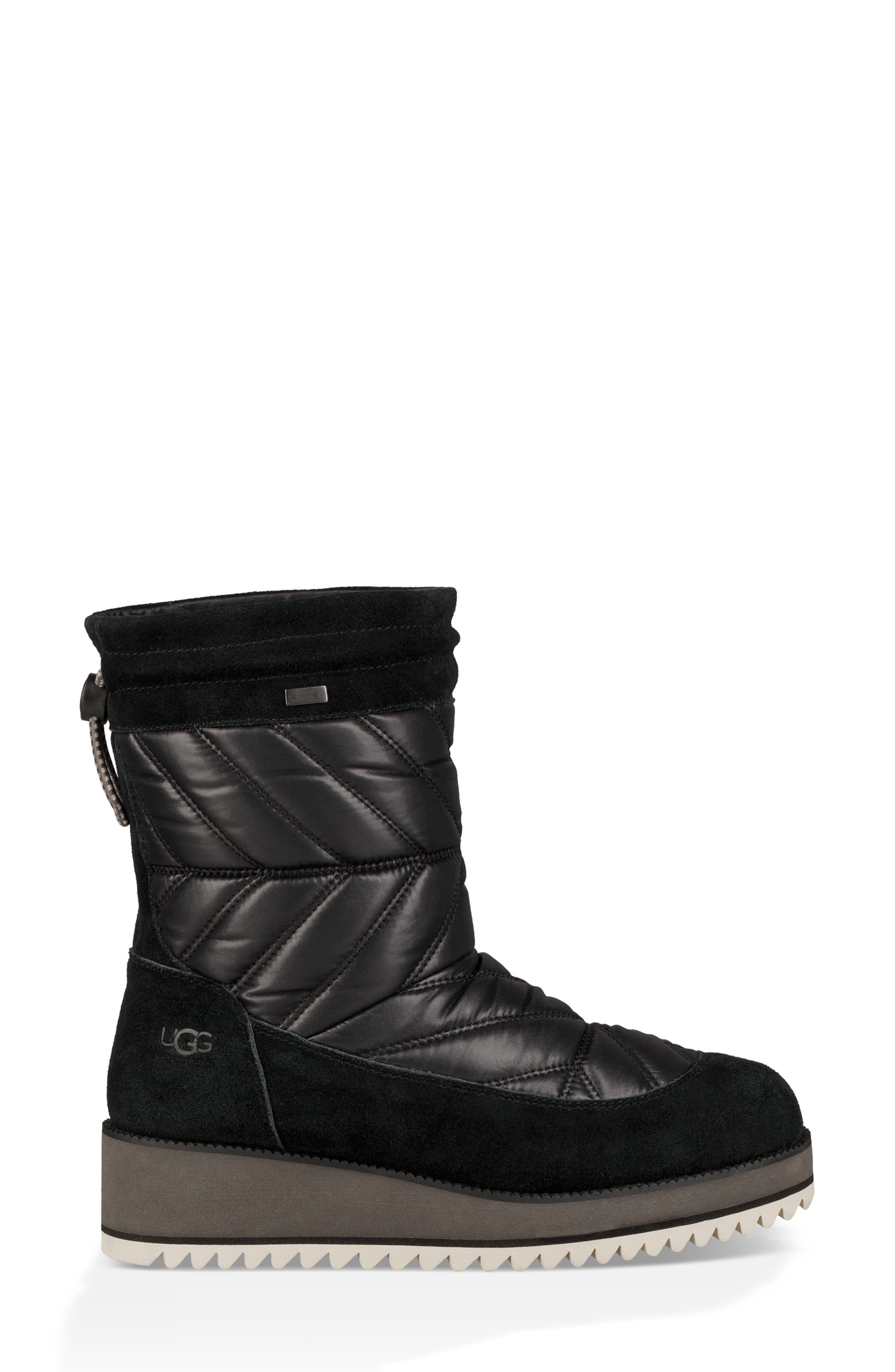 Beck Waterproof Quilted Boot,                             Alternate thumbnail 3, color,                             BLACK