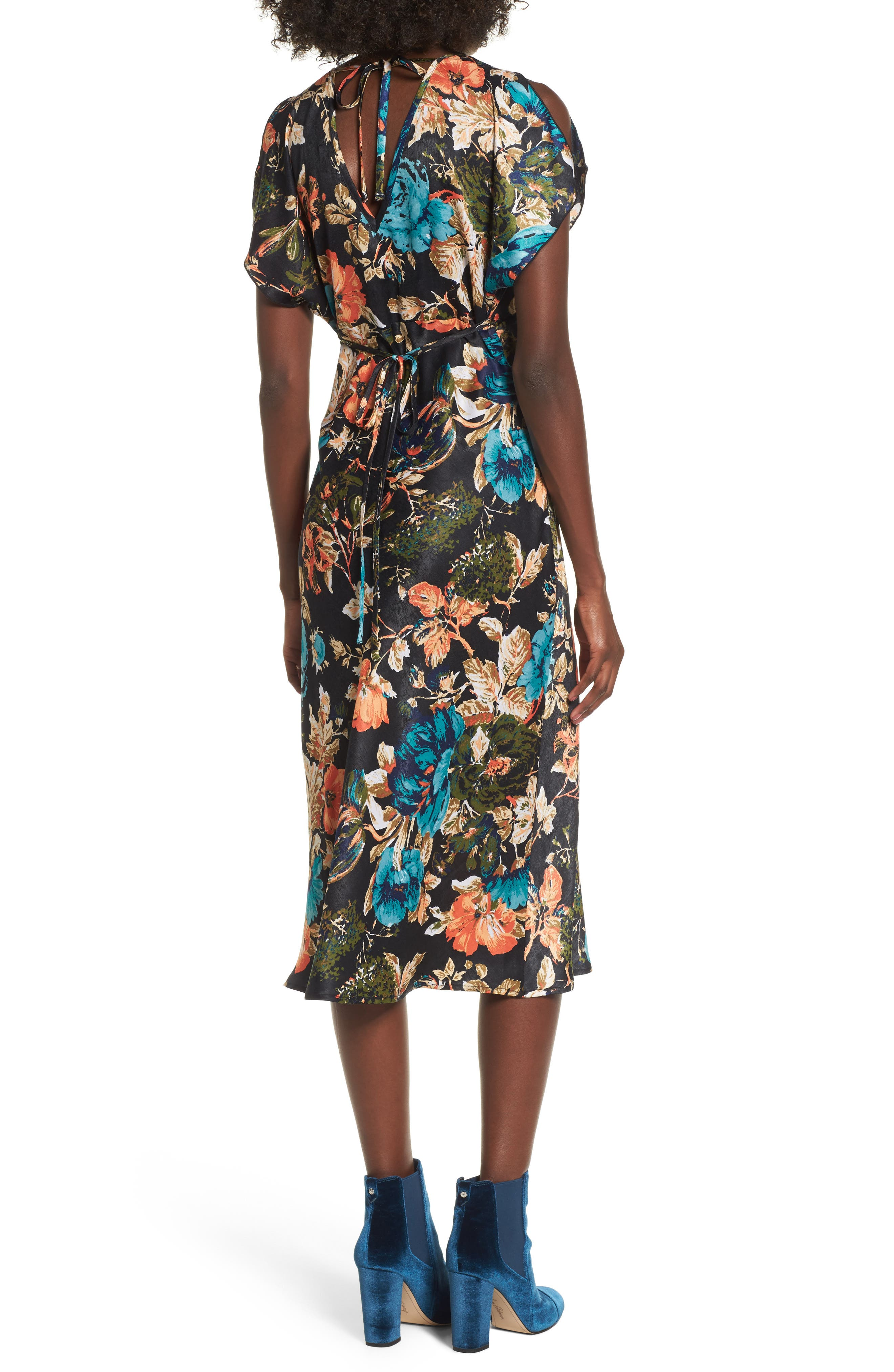 Peony Floral Midi Dress,                             Alternate thumbnail 2, color,                             007